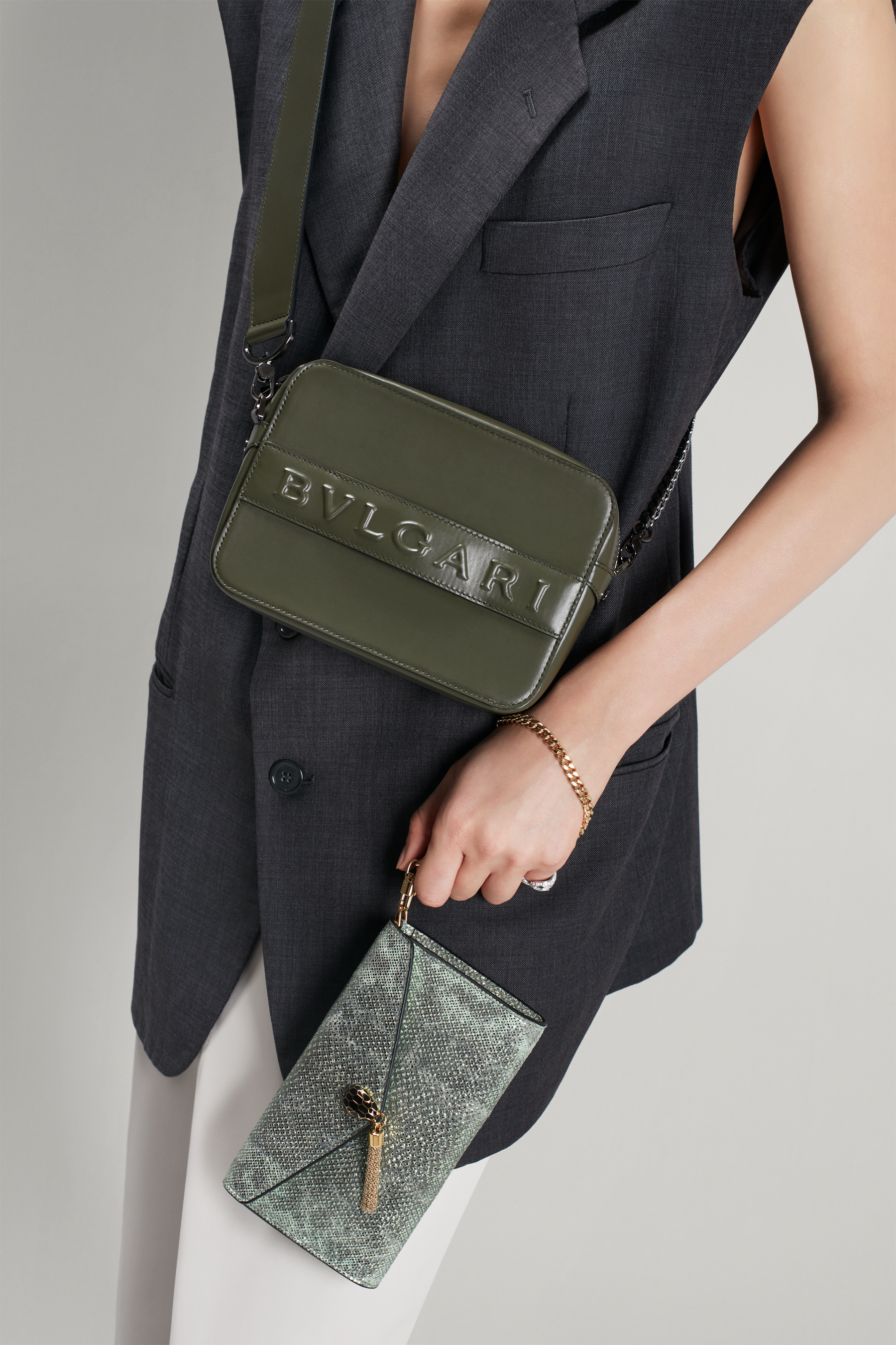 """Bvlgari Logo"" camera bag in mimetic jade calf leather with zipped closure. Dark ruthenium plated brass hardware. Camera-Bag image 2"