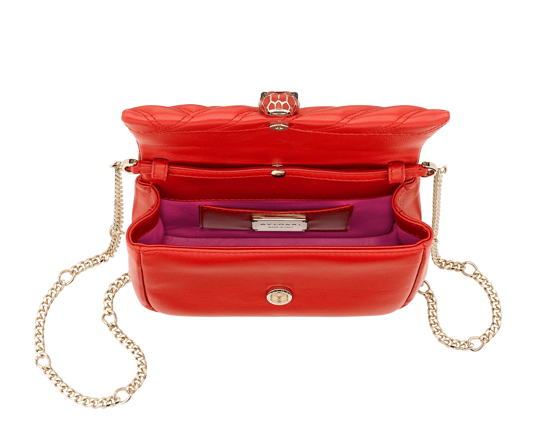 Serpenti Cabochon micro bag in soft matelassé carmine jasper calf leather, with a graphic motif. Brass light gold plated tempting snakehead closure in carmine jasper enamel and black onyx eyes. 288756 image 4