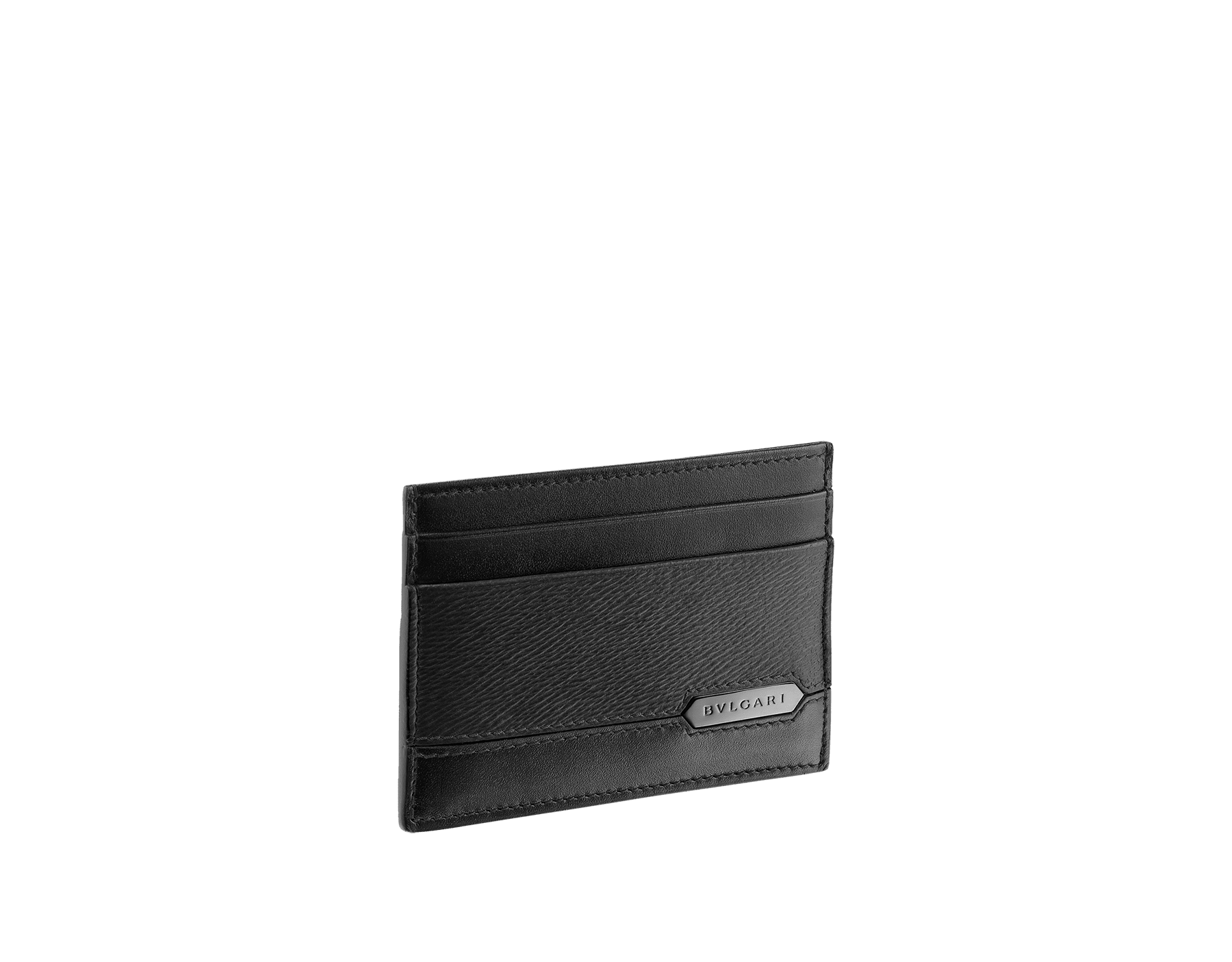 Credit card holder in black grazed calf leather and black calf leather. Bulgari logo on metal plate featuring the Scaglie motif finished in dark ruthenium. Four credit card slots and one compartment. 280883 image 1