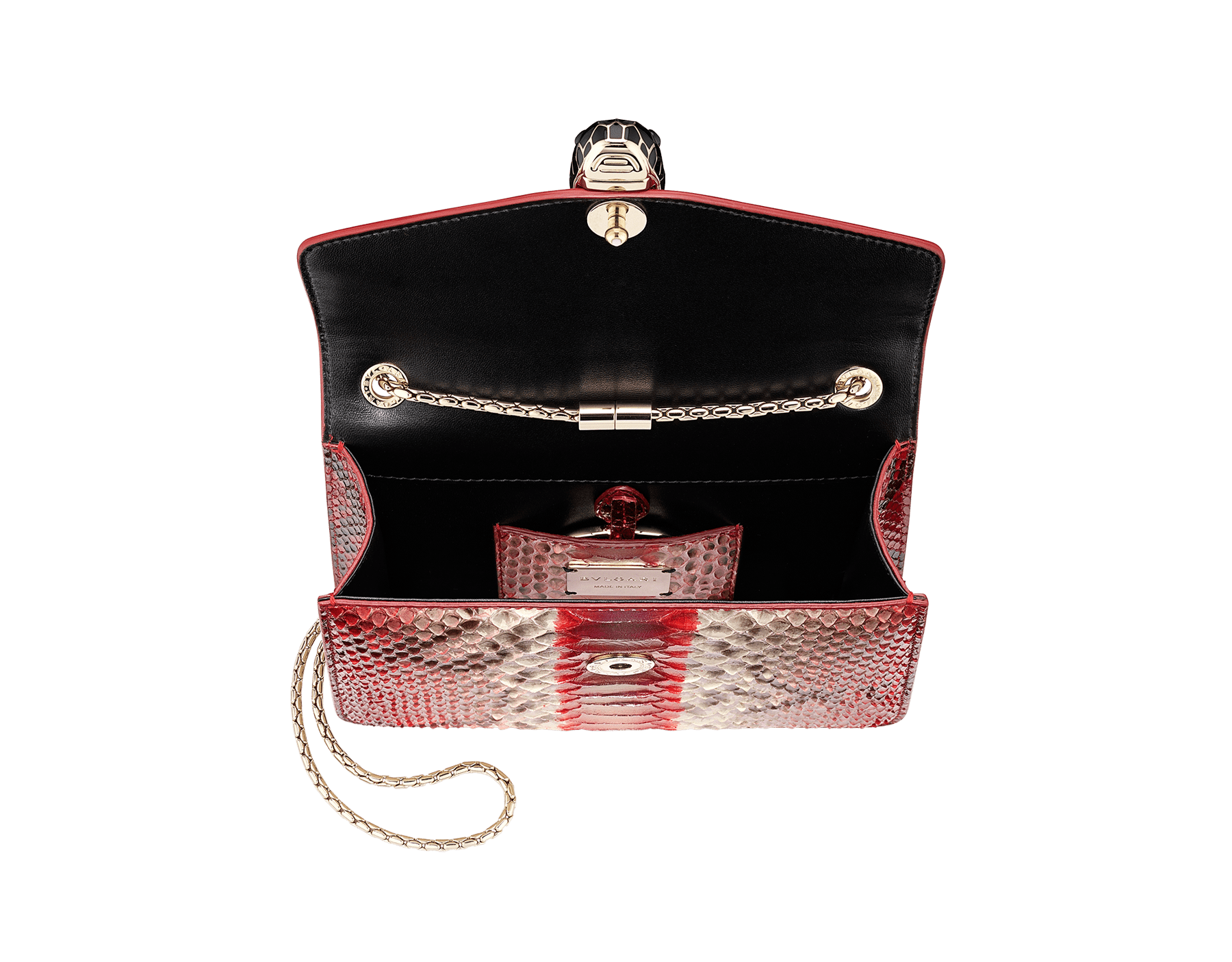 """Serpenti Forever"" crossbody bag in multicolour ""Magic Chromaline"" python skin. Iconic snakehead closure in light gold plated brass enriched with black and white enamel and black onyx eyes. 422-Pc image 4"