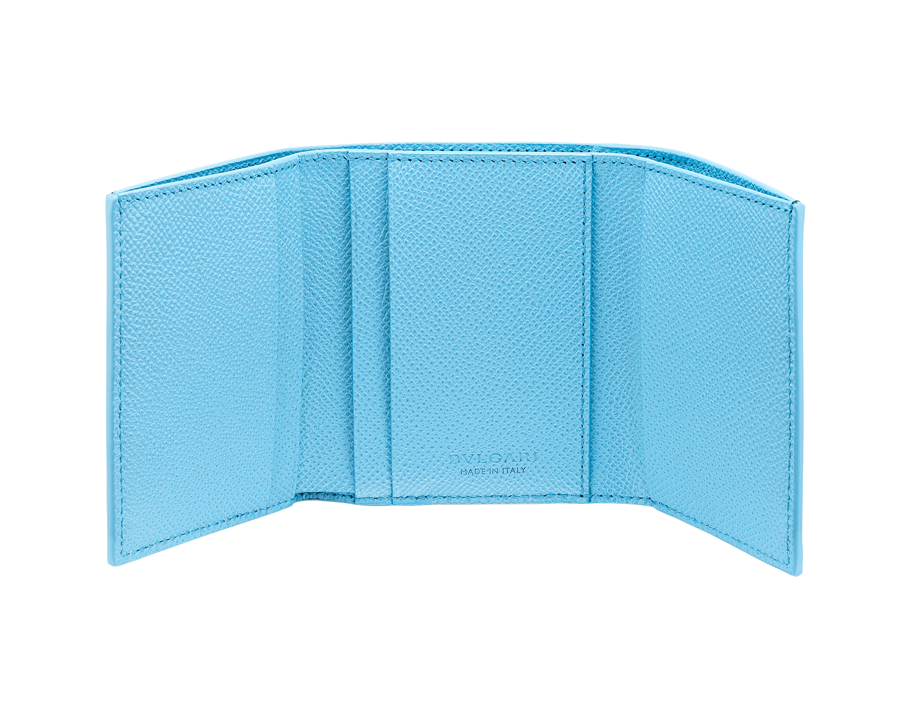 Denim SapphireのブルーとAegean Topazのライトブルーのグレインカーフレザー製「ブルガリ・ブルガリ」スリムコンパクトウォレット。 ブラスパラジウムプレートのアイコニックなロゴのクロージャークリップ。 290669 image 2