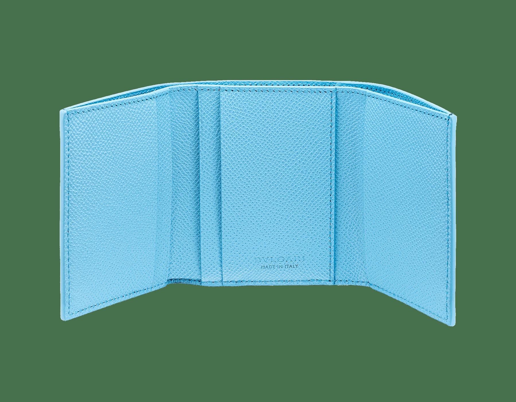 """Bvlgari Clip"" slim compact wallet in Denim Sapphire blue and Aegean Topaz light blue grained calfskin. Iconiclogo clip closure in palladium-plated brass BCM-SLIMCOMPACTa image 2"