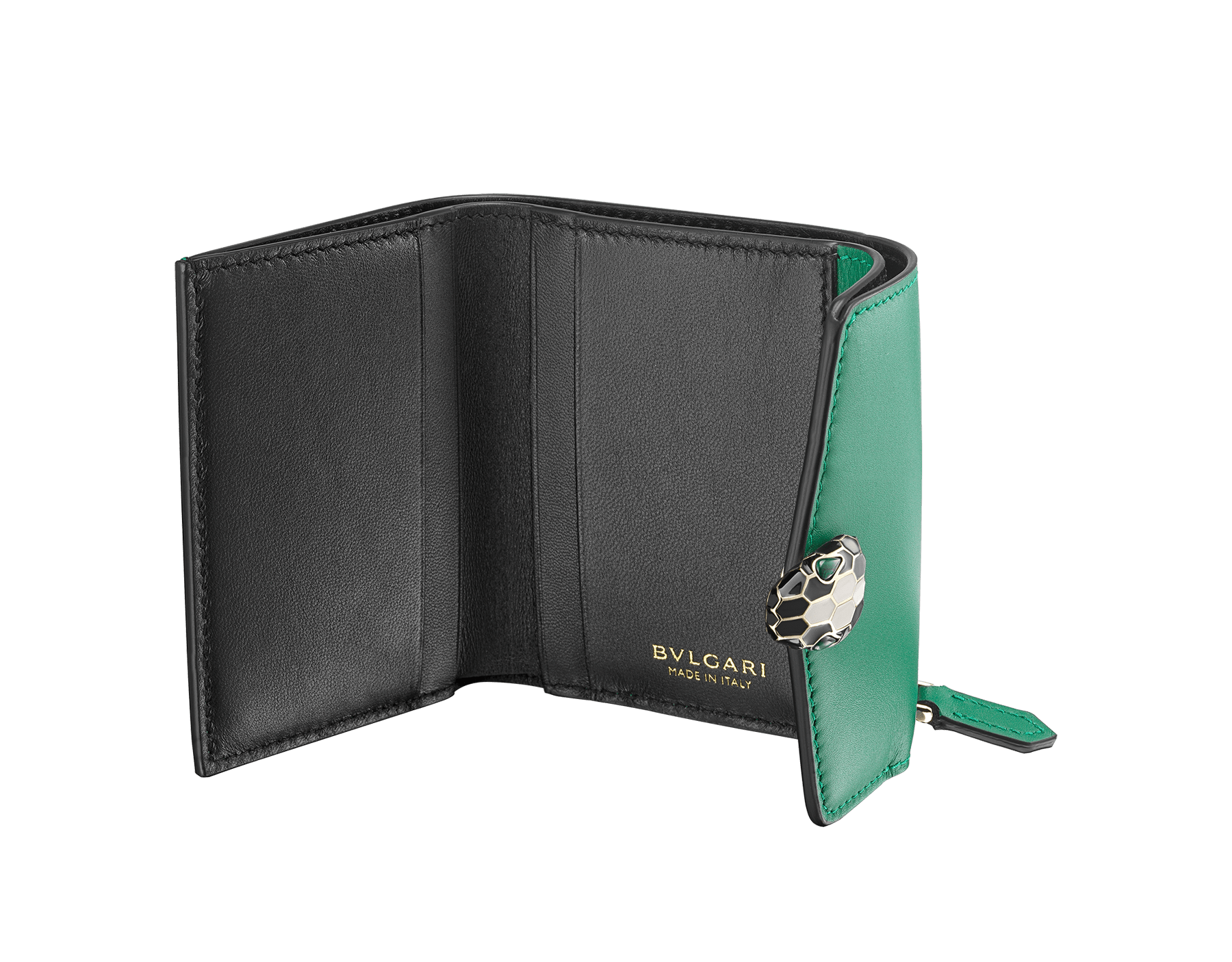 Serpenti Forever compact wallet in daisy topaz calf leather and white agate goatskin. Iconic light gold plated brass snake head stud closure in white agate and daisy topaz enamel, with black onyx eyes. SEA-SLIMCOMPACT-CLa image 4