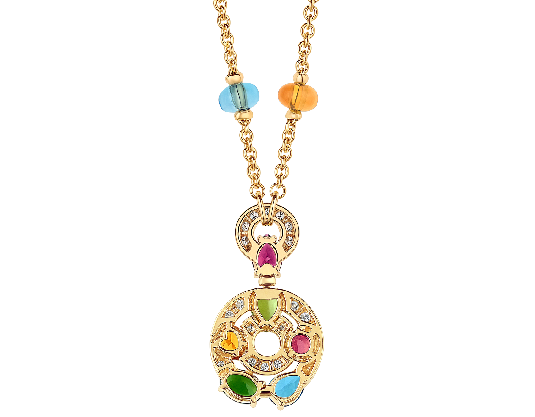 Astrale 18 kt yellow gold large pendant necklace set with blue topazes, amethysts, green tourmalines, peridots, citrine quartz, rhodolite garnets and pavé diamonds 339139 image 4
