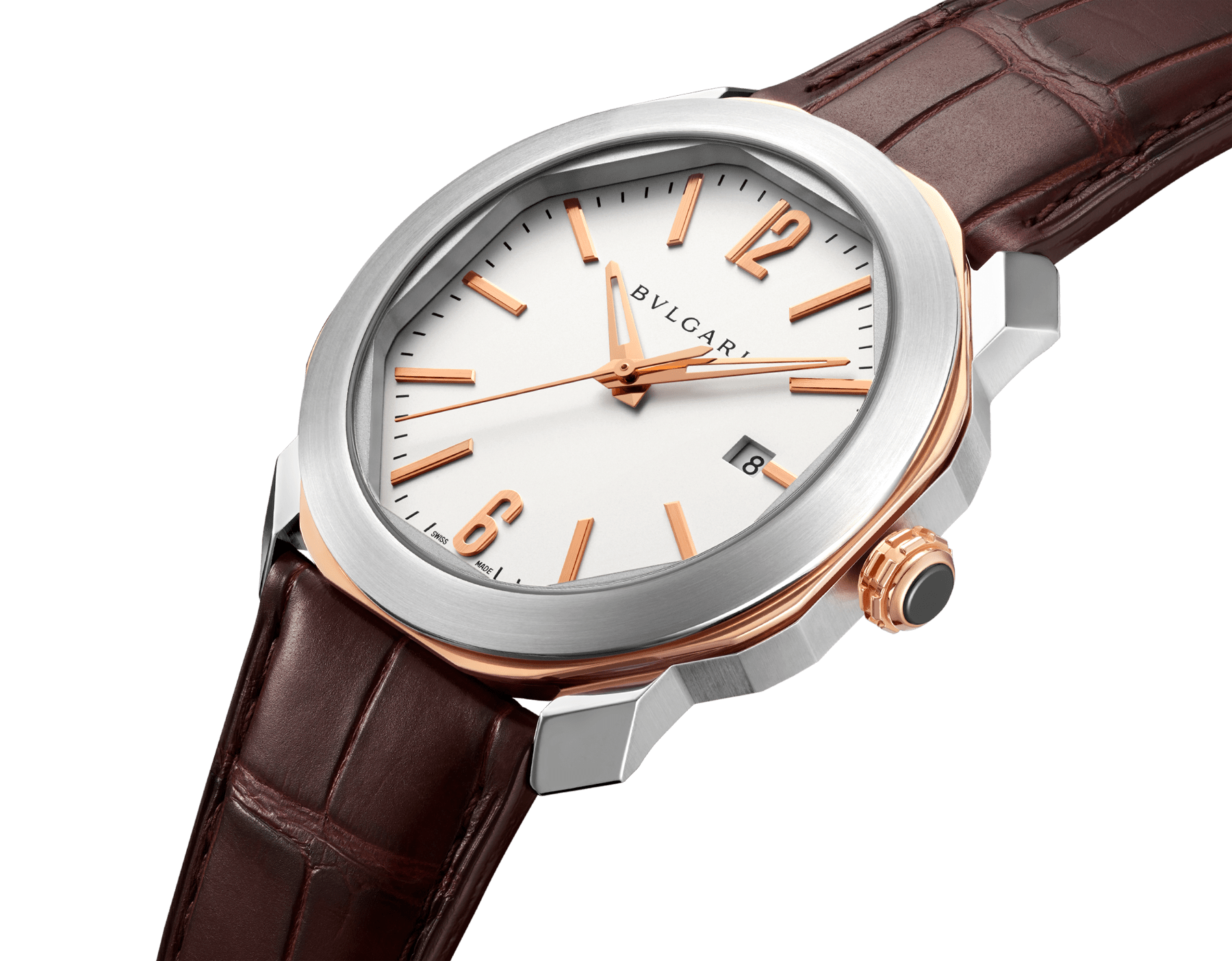 Octo Roma watch with mechanical manufacture movement, automatic winding, case in stainless steel and 18 kt rose gold, silver dial and brown alligator bracelet. 102703 image 2