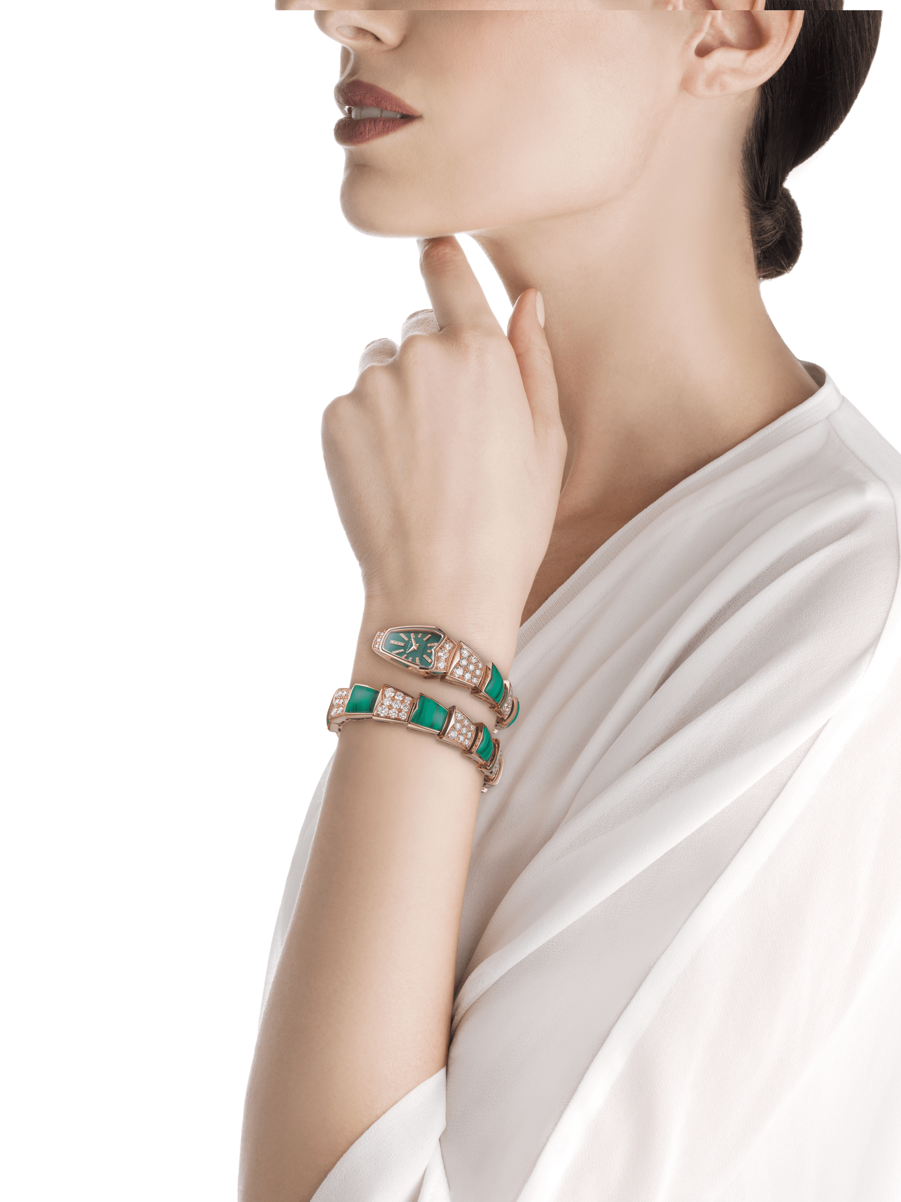 Serpenti Jewellery Watch with 18 kt rose gold case set with brilliant cut diamonds, green lacquered dial, diamond indexes and 18 kt rose gold single spiral bracelet set with brilliant cut diamonds and malachite elements. 102678 image 3