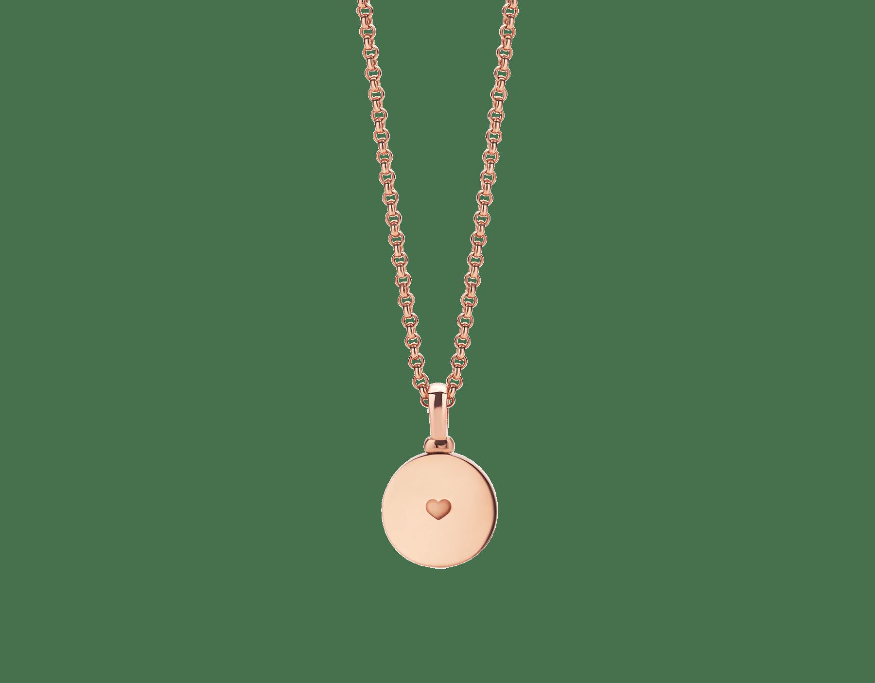 Collana con pendente BVLGARI BVLGARI in oro rosa 18 kt con inserto in madreperla, personalizzabile con incisione sul retro. 358376 image 2