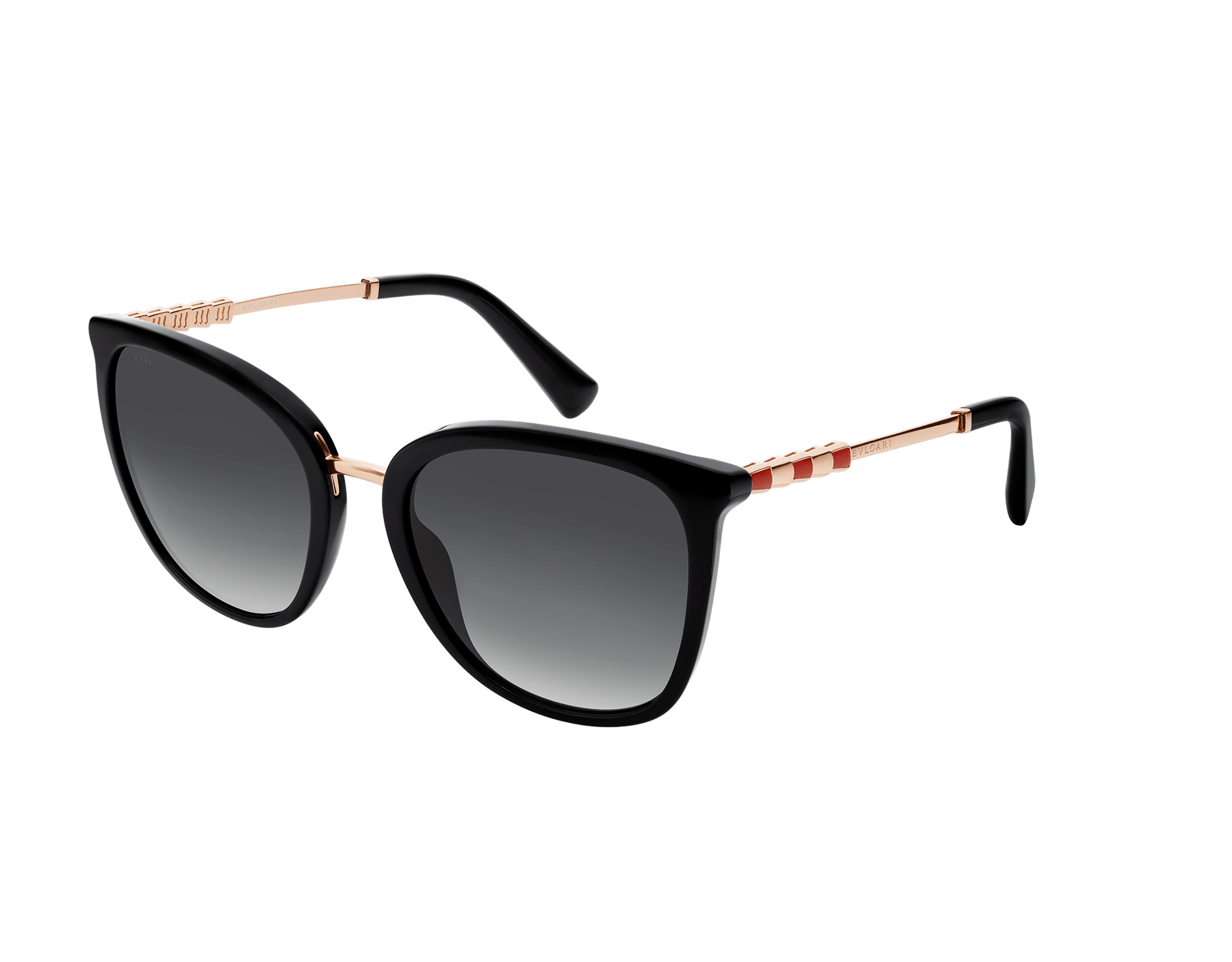 Serpenti rounded acetate sunglasses with gold plated temples. Asian fitting available. 903608 image 1