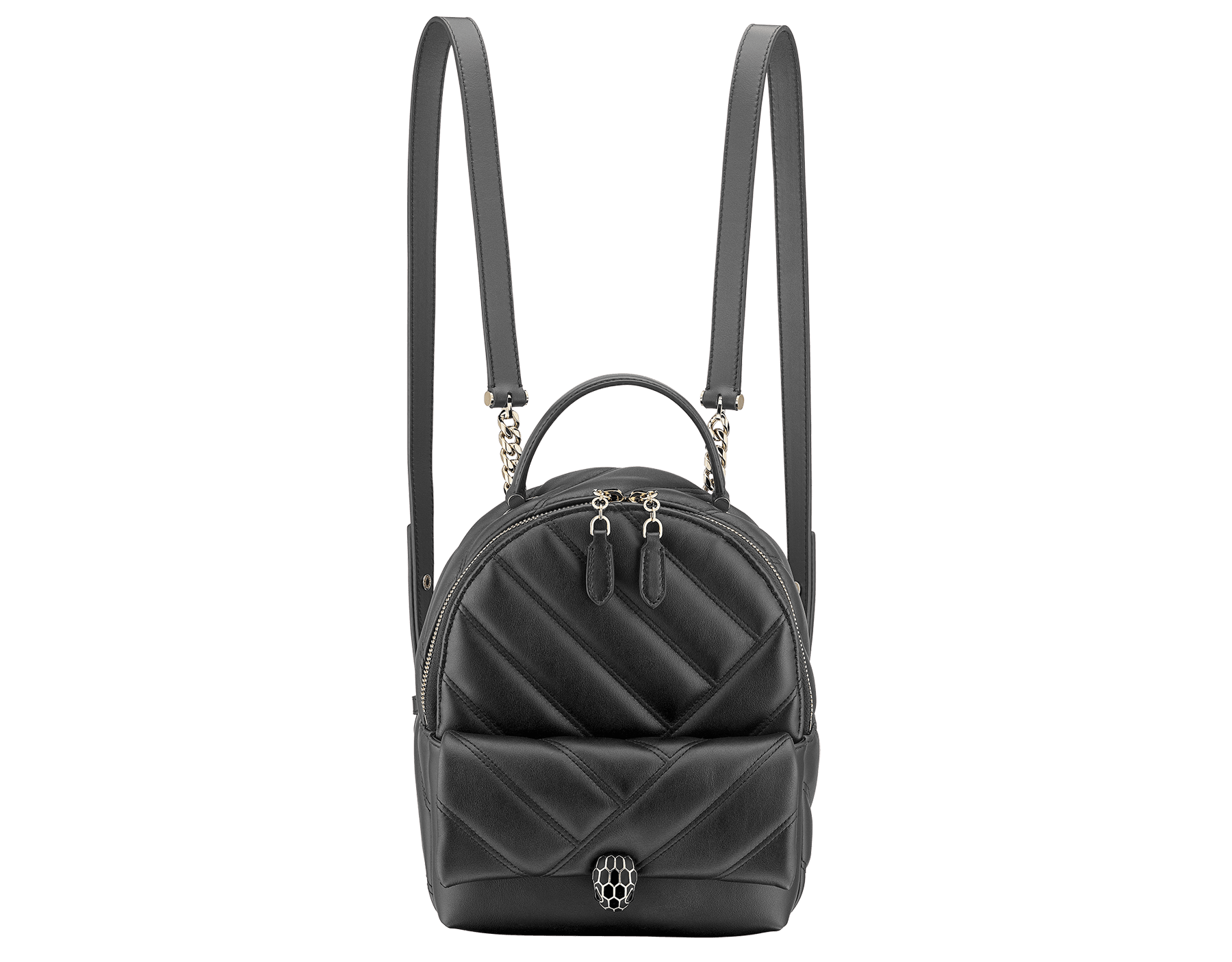 Serpenti Cabochon backpack in soft quilted white agate calf leather, with a graphic motif. Light gold plated brass tempting snakehead closure in black and white agate enamel and black onyx eyes. 1009-NSM image 1