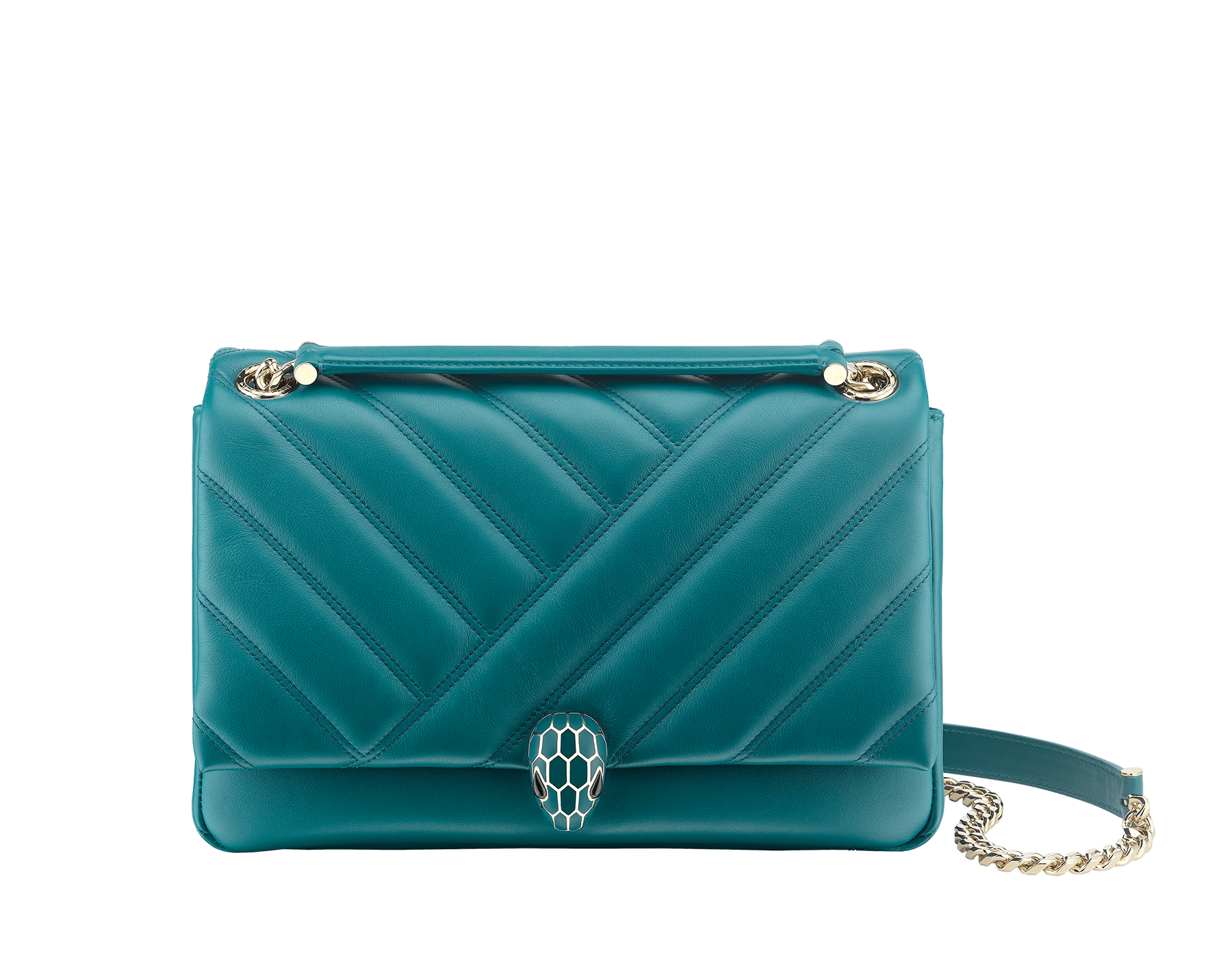 Serpenti Cabochon shoulder bag in soft matelassè deep jade nappa leather, with a graphic motif, and deep jade calf leather. Brass light gold plated tempting snake head closure in matte deep jade and shiny deep jade enamel, with black onyx eyes. 287984 image 1