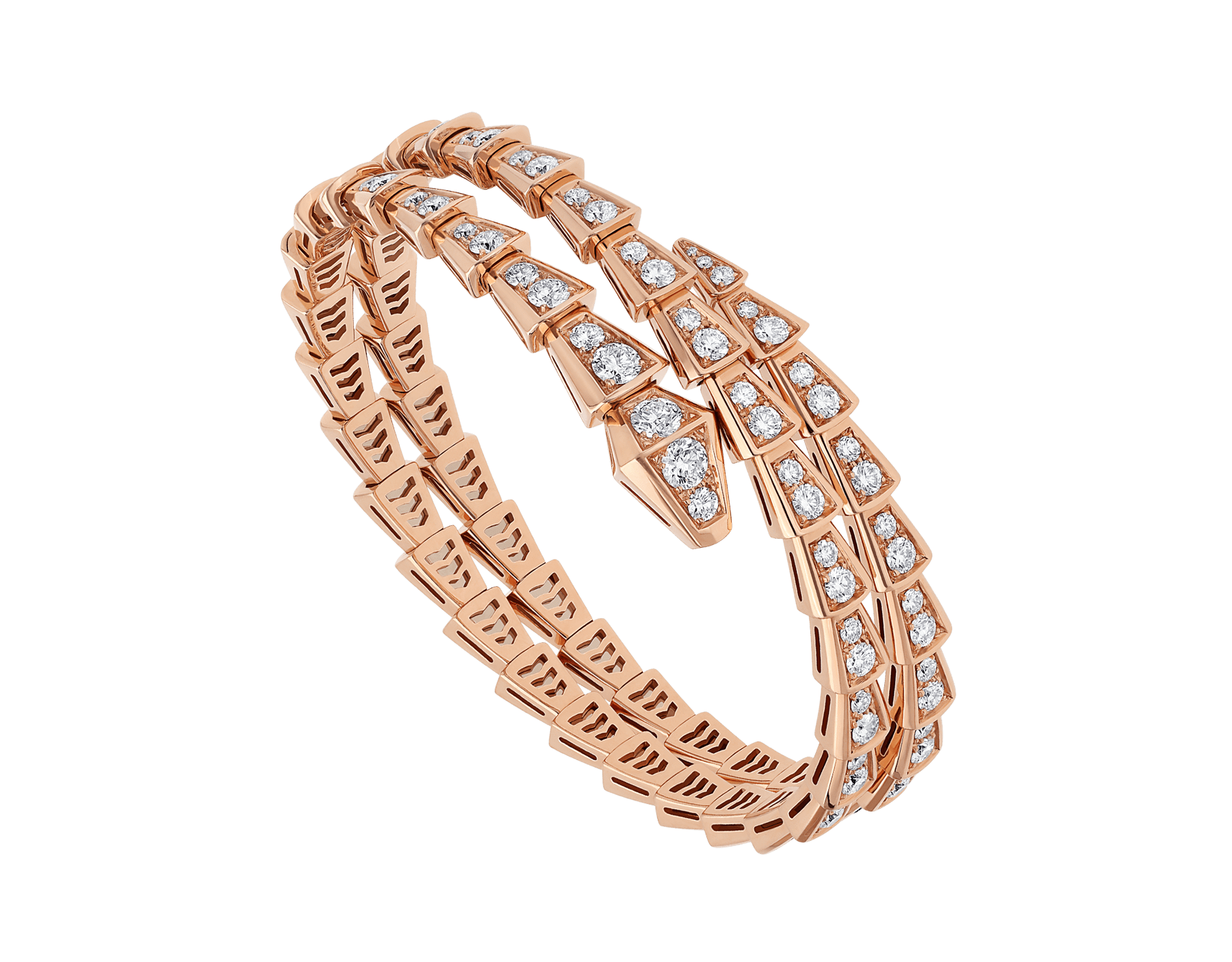 Serpenti Viper two-coil 18 kt rose gold bracelet, set with pavé diamonds BR858796 image 1