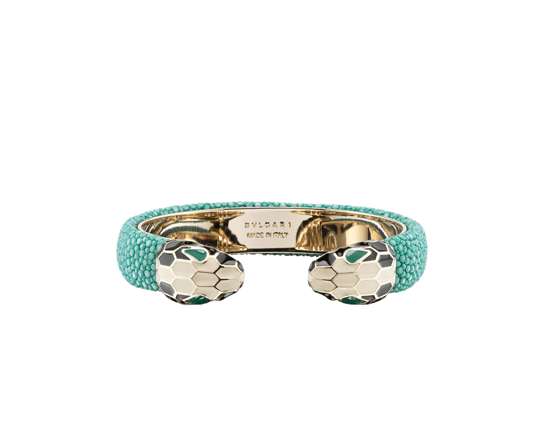 Green galuchat skin bracelet with contraire brass light gold plated iconic black and white enamel Serpenti head motif with malachite enamel eyes. Small. Also available in other colors in store. 2 (5.3 cm) SPContr-G-EG image 1