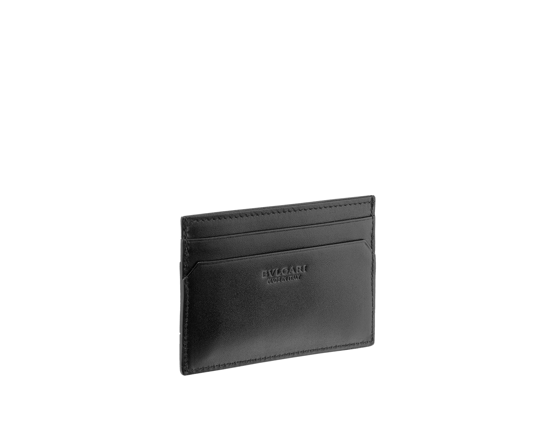 Credit card holder in black grazed calf leather and black calf leather. Bulgari logo on metal plate featuring the Scaglie motif finished in dark ruthenium. Four credit card slots and one compartment. 280883 image 2