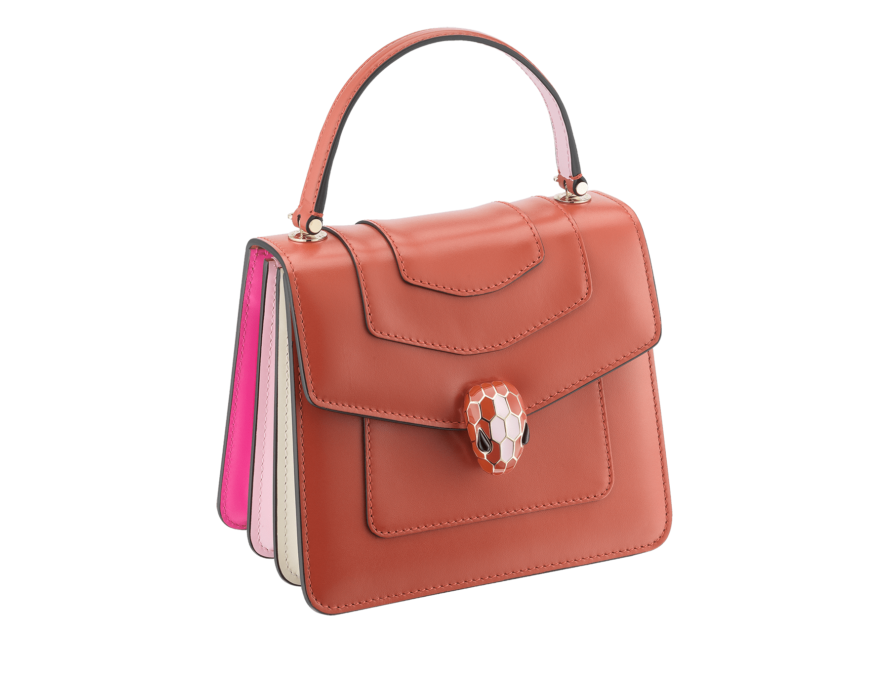 Serpenti Forever crossbody bag in imperial topaz calf leather with Roman garnet, rosa di francia and white agate calf leather sides. Iconic snakehead closure in light gold plated brass embellished with imperial topaz and rosa di francia enamel and black onyx eyes. 288889 image 2