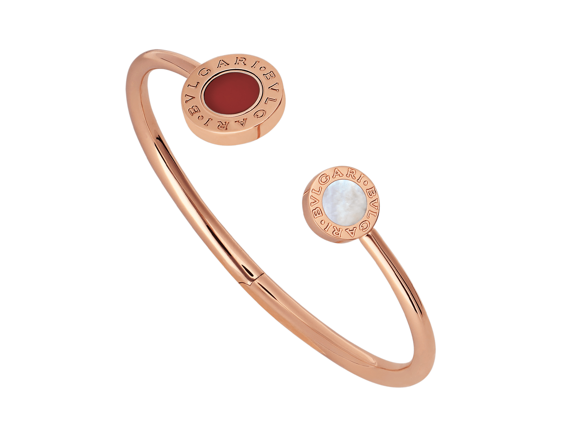 BVLGARI BVLGARI 18 kt rose gold flip bracelet set with mother-of-pearl and carnelian elements BR858280 image 1