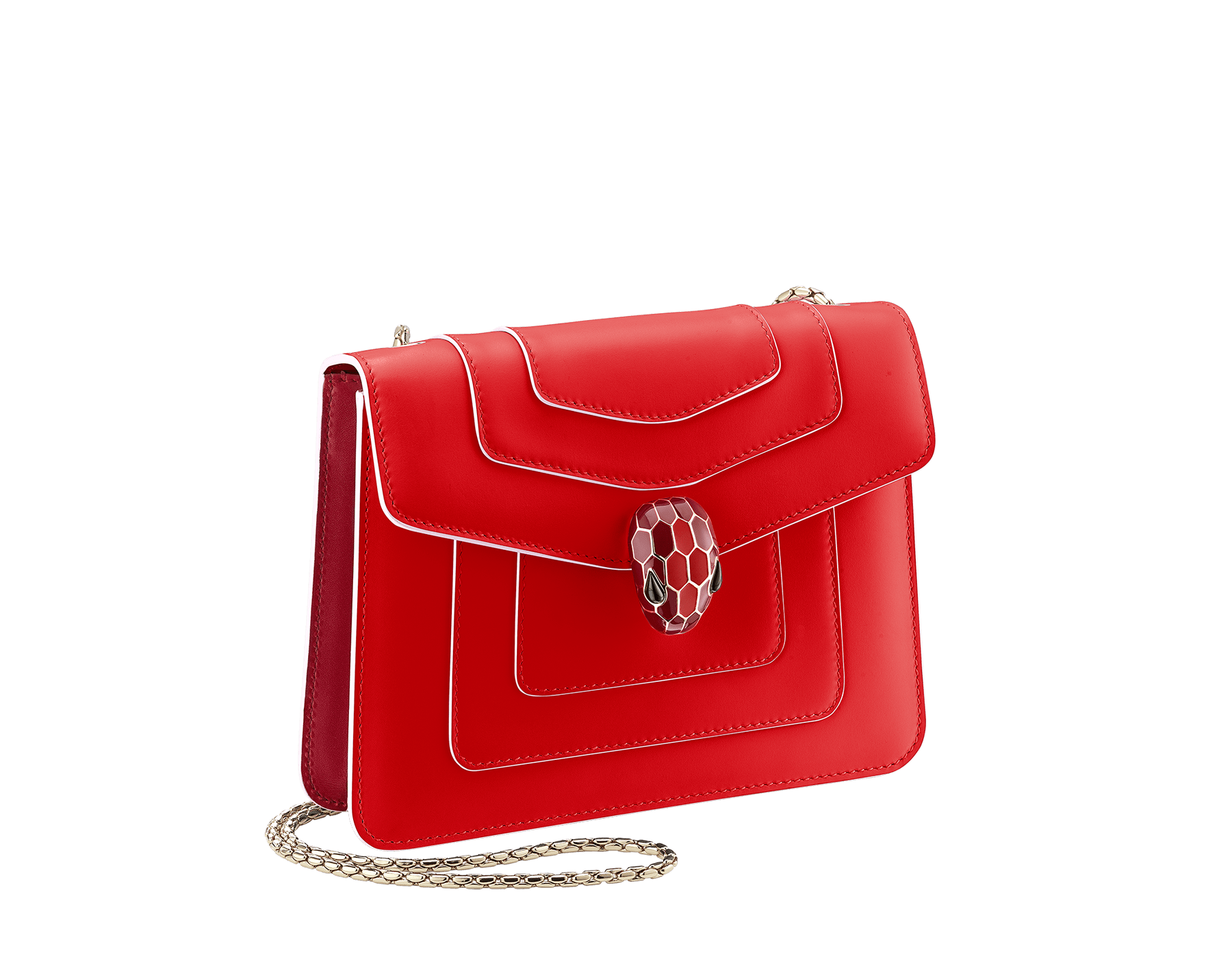 Serpenti Forever crossbody bag in Roman garnet calf leather, with rosa di francia calf leather sides. Iconic snakehead closure in light gold plated brass embellished rosa di francia and black enamel and black onyx eyes . 422-BCLb image 2