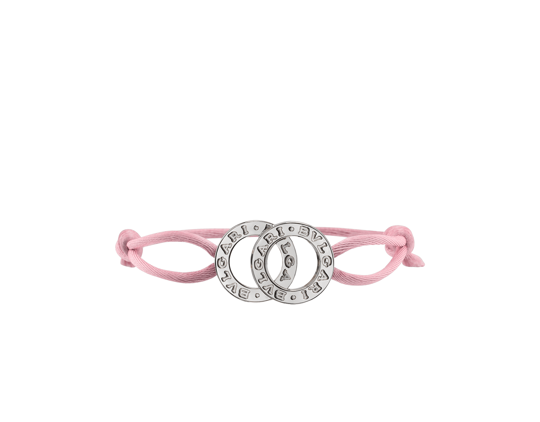 BVLGARI BVLGARI bracelet in flamingo quartz fabric with an iconic double logo décor in sterling silver. 288451 image 1