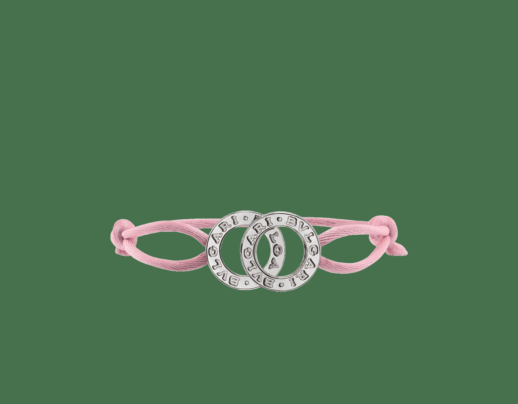 Bracciale BVLGARI BVLGARI in tessuto rosa fenicottero con iconico doppio logo in argento 925. 288451 image 1