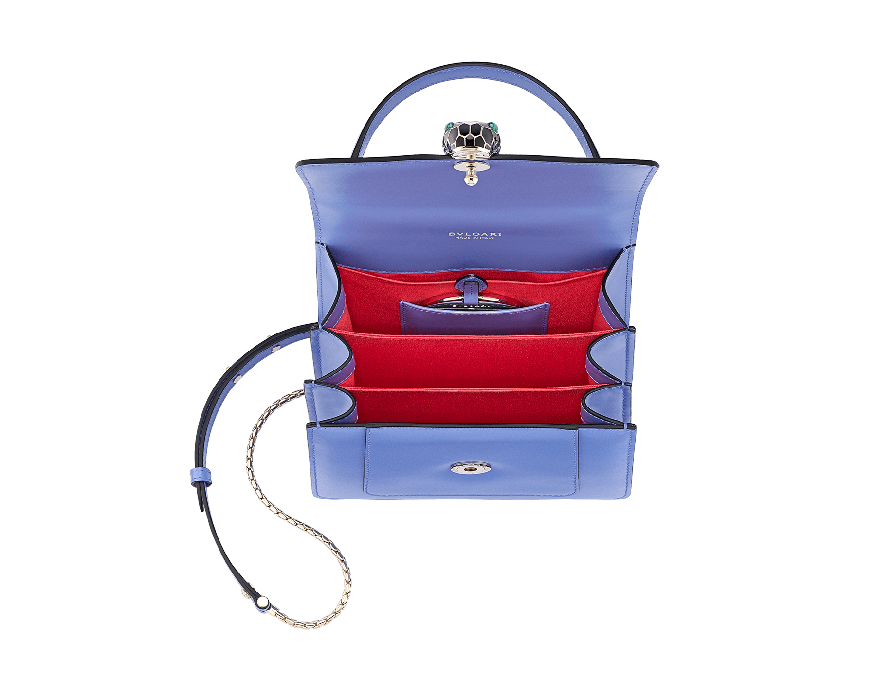 """Serpenti Forever "" top-handle bag in Lavender Amethyst lilac calf leather with Reef Coral red grosgrain inner lining. Iconic snakehead closure in light gold-plated brass embellished with black and white agate enamel and green malachite eyes 290517 image 4"