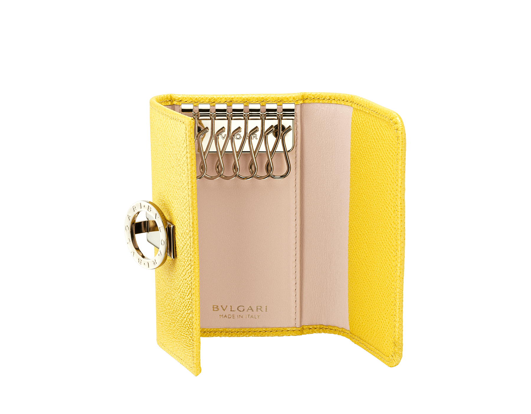 """BVLGARI BVLGARI"" small key holder in mint bright grain calf leather and taffy quartz soft nappa leather. Iconic logo clip closure in light gold plated brass. 579-KEYHOLDER-Sa image 2"