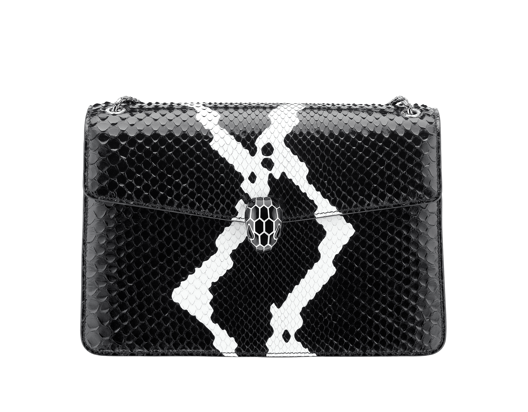 Serpenti Forever shoulder bag in black and white python skin with Whitethunder motif. Snakehead closure in shiny palladium plated brass decorated with black enamel, and black onyx eyes. 521-Pb image 1