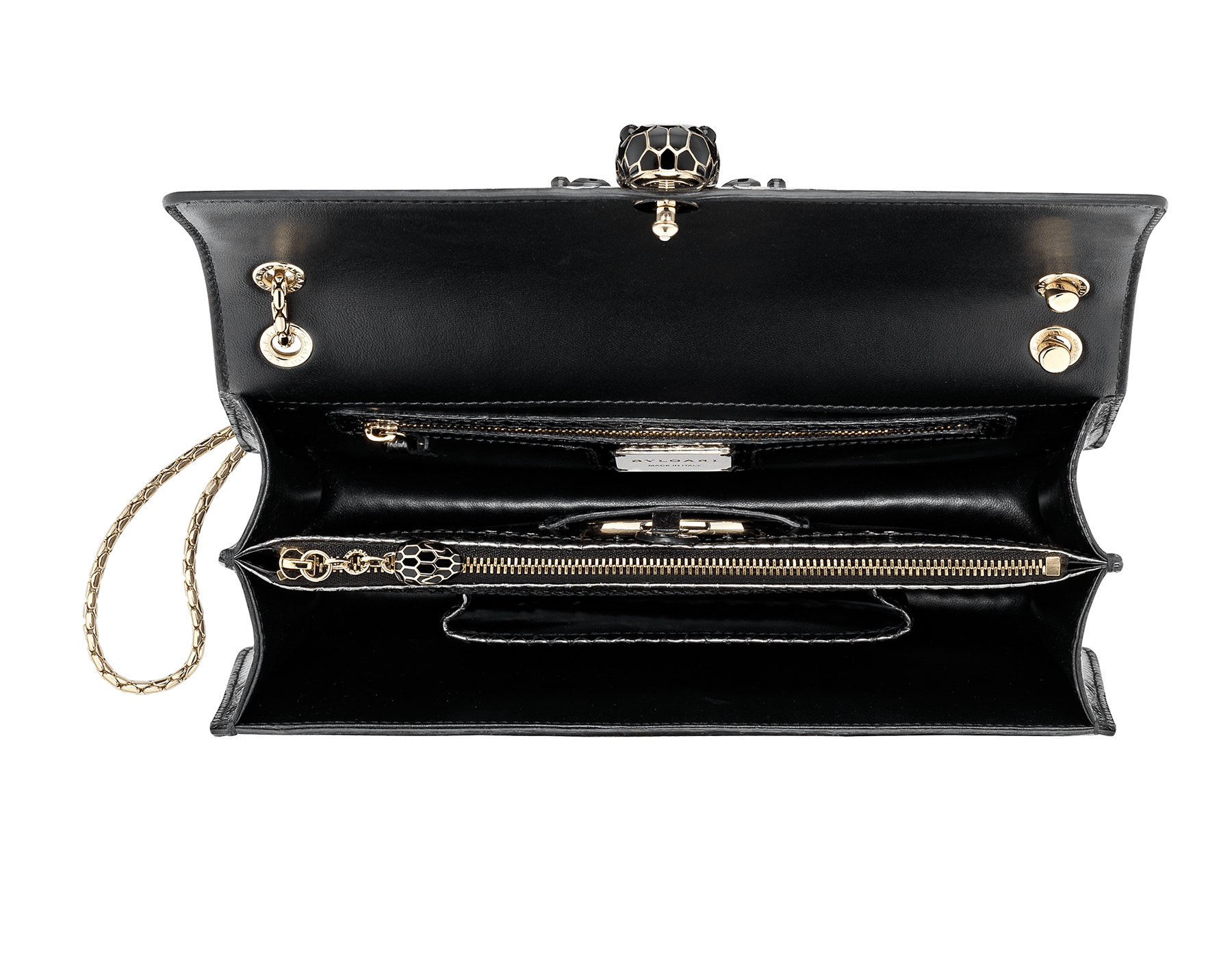 """""""Serpenti Forever"""" shoulder bag black Diamond Glam python skin. Iconic snake head closure in palladium plated brass enriched with black enamel and black onyx eyes. 521-Pc image 4"""