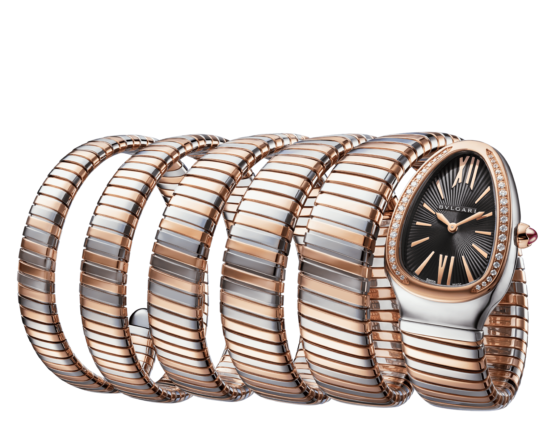 Serpenti Tubogas five-spiral watch with stainless steel case, 18 kt rose gold bezel set with brilliant cut diamonds, black lacquered dial, 18 kt rose gold and stainless steel bracelet. 102621 image 1