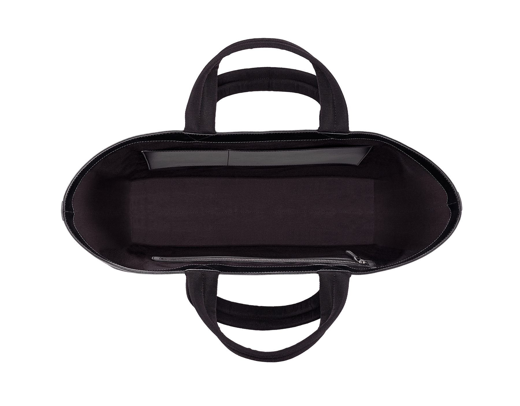 パラジウムプレートブラス製金具と「FRAGMENT」シルバースモールロゴが付いた ブラックパフィーナイロン製「FRAGMENT X BVLGARI by Hiroshi Fujiwara」ショッピングバッグ。 290772 image 5