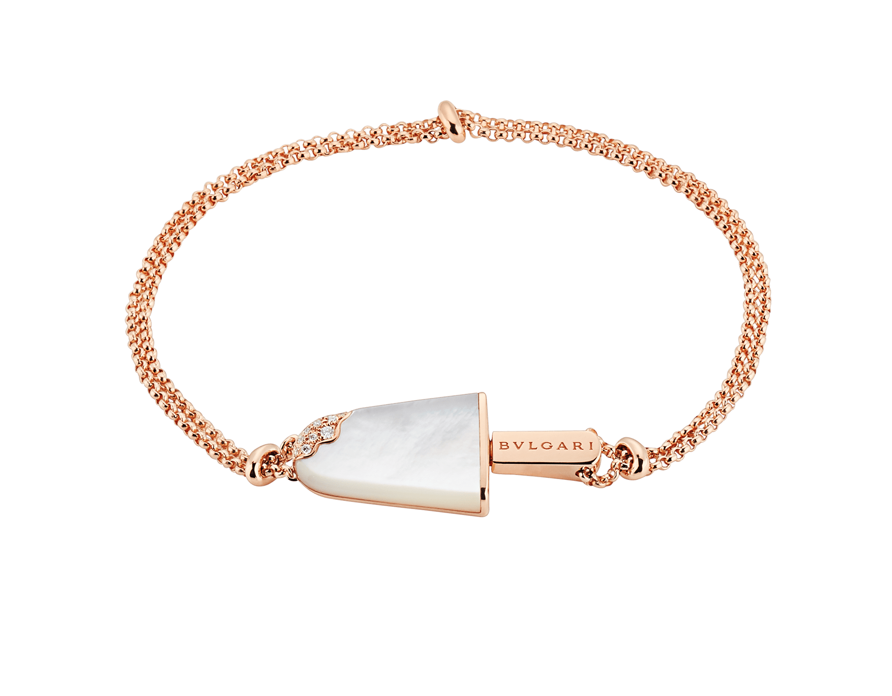 BVLGARI BVLGARI Gelati 18 kt rose gold soft bracelet set with mother-of-pearl and pavé diamonds BR858011 image 1