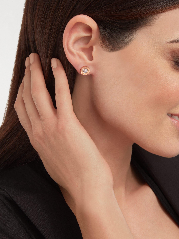 BVLGARI BVLGARI 18 kt rose gold single stud earring with pavé diamonds. 354731 image 4