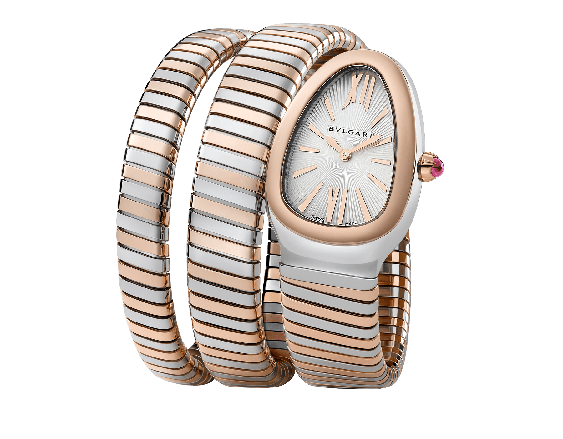 Serpenti Tubogas double spiral watch in 18 kt rose gold and stainless steel case and bracelet, with silver opaline dial. 102236 image 1