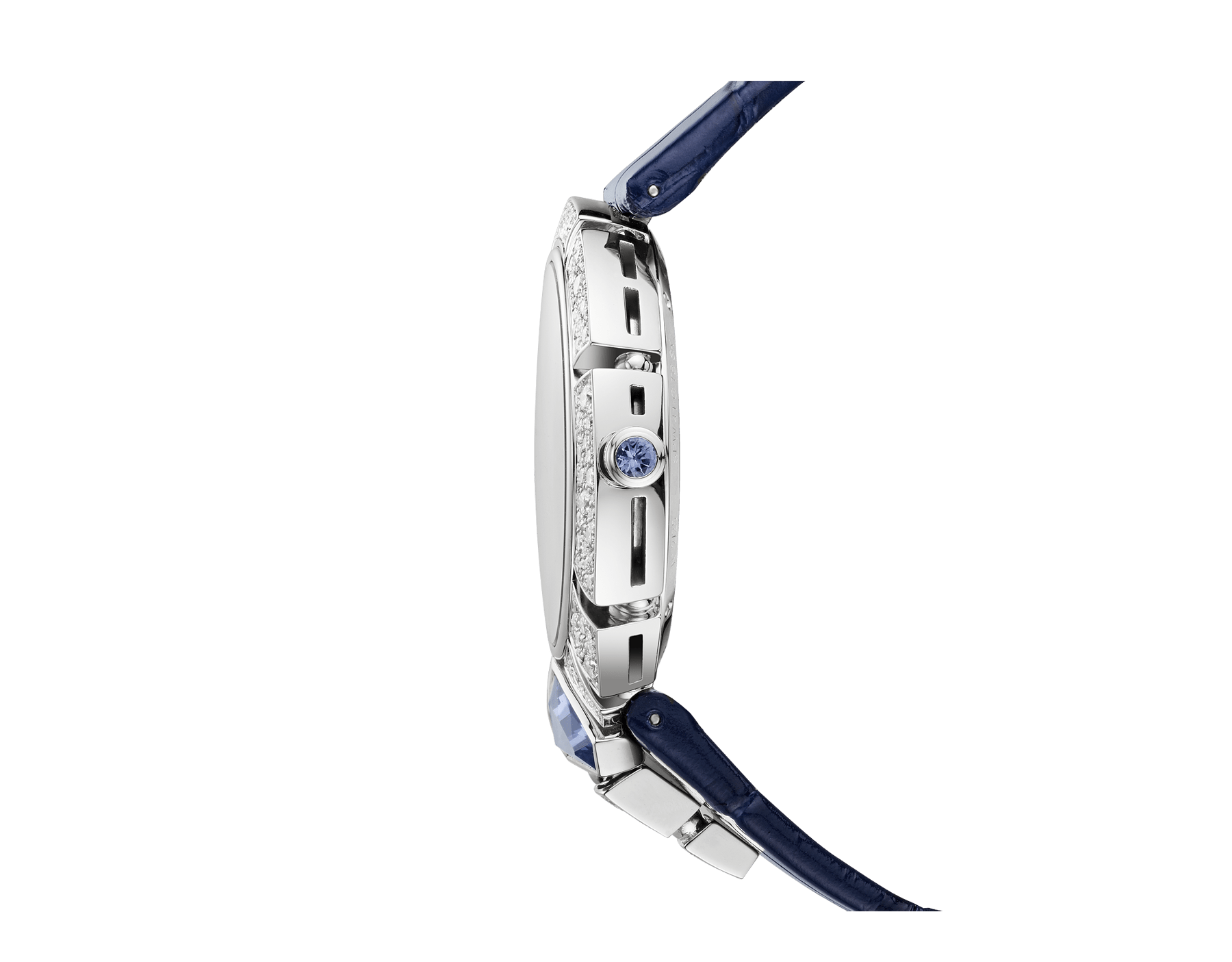 Serpenti Incantati Tourbillon watch with manufacture mechanical skeletonized movement, manual winding, 18 kt white gold case set with brilliant cut diamonds and a tanzanite, transparent dial and blue alligator bracelet. 102723 image 3