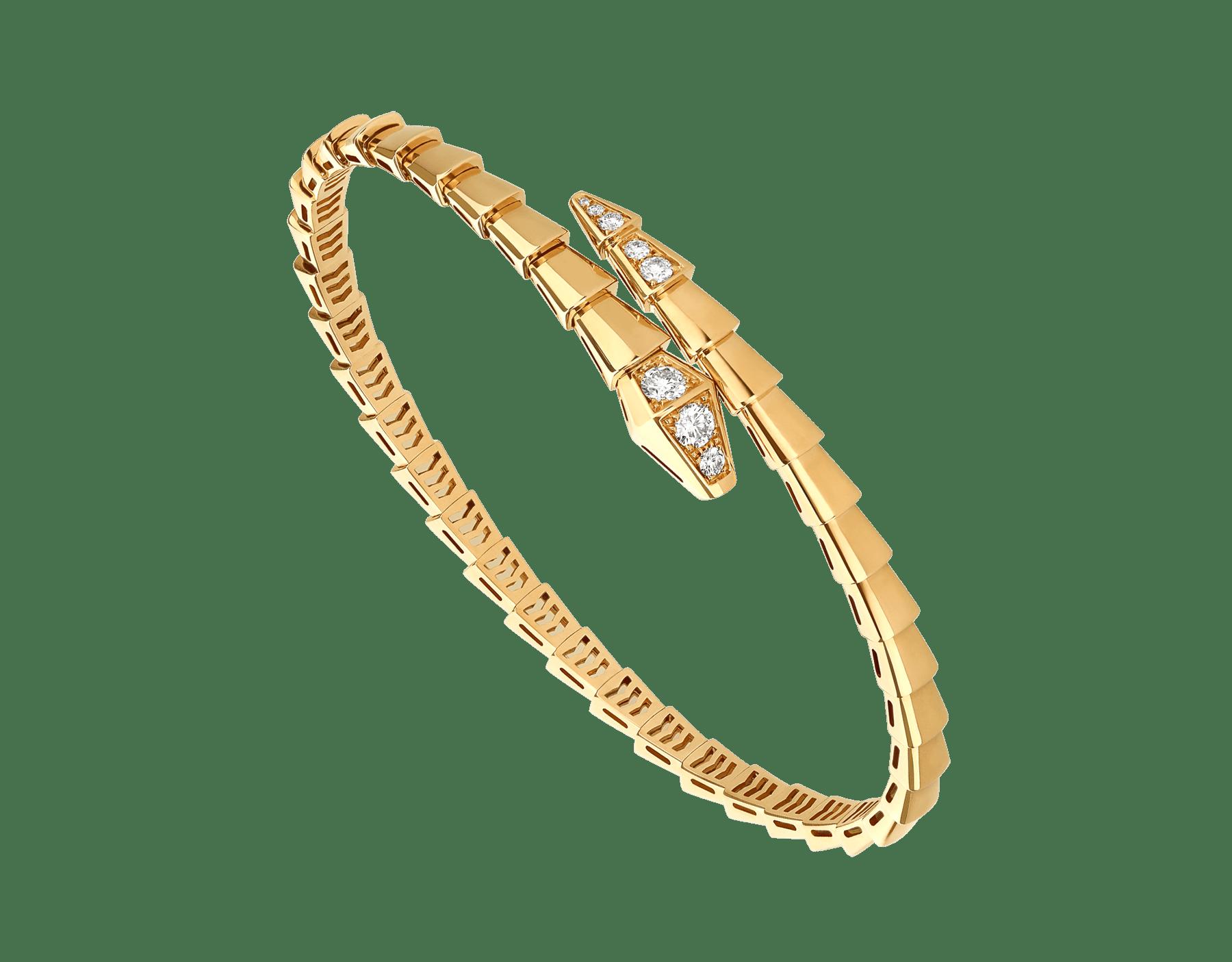 Serpenti Viper 18 kt yellow gold bracelet set with demi-pavé diamonds BR858972 image 1