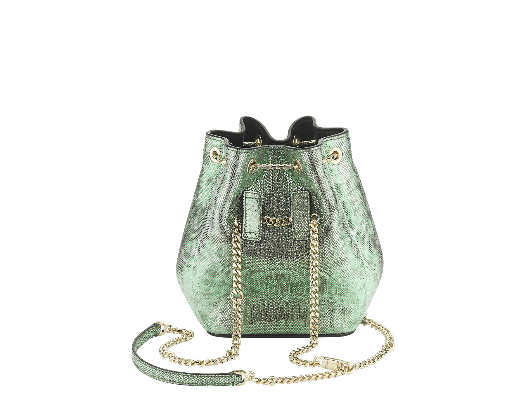 """Serpenti Forever"" micro bucket in mint metallic karung and a black nappa internal lining. Hardware in light gold plated brass and snakehead closure in black and glitter mint enamel, with eyes in black onyx. 289950 image 3"