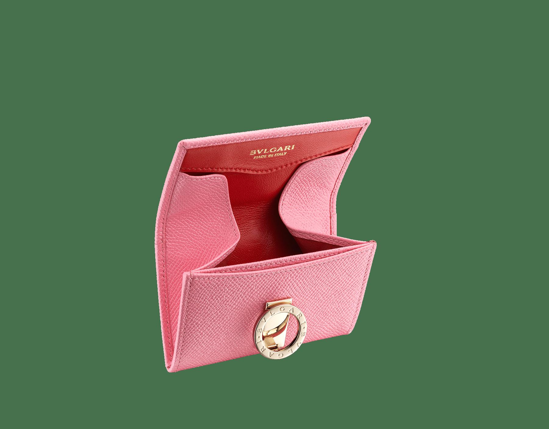 BVLGARI BVLGARI 糖果石英色亮珠面小牛皮和洋紅碧玉色 Nappa 軟面皮零錢包,寶格麗經典標誌淡金色黃銅扣環。 287496 image 2