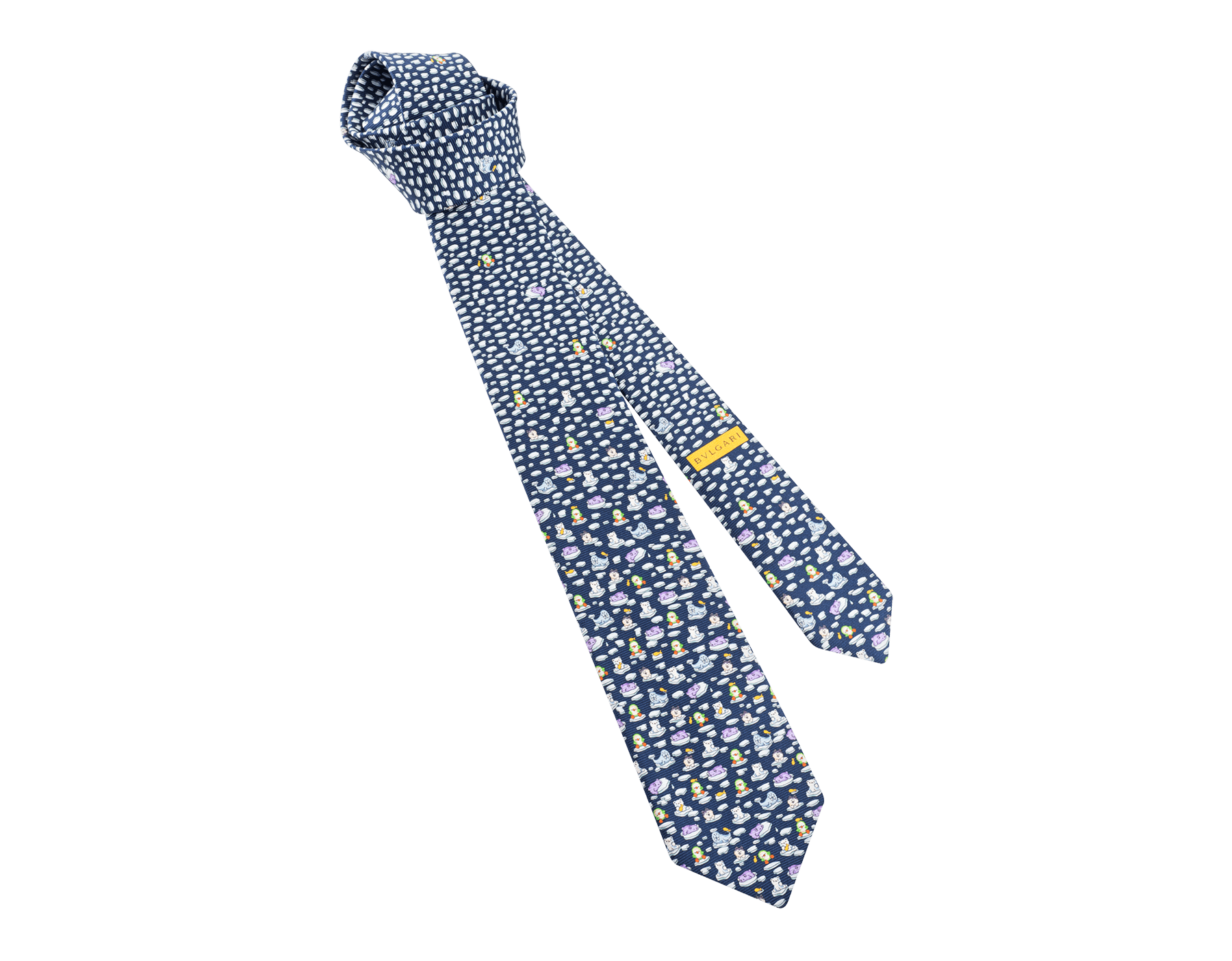 "Navy ""Polar Party"" pattern seven-folds tie in fine saglione printed silk. PolarParty image 1"