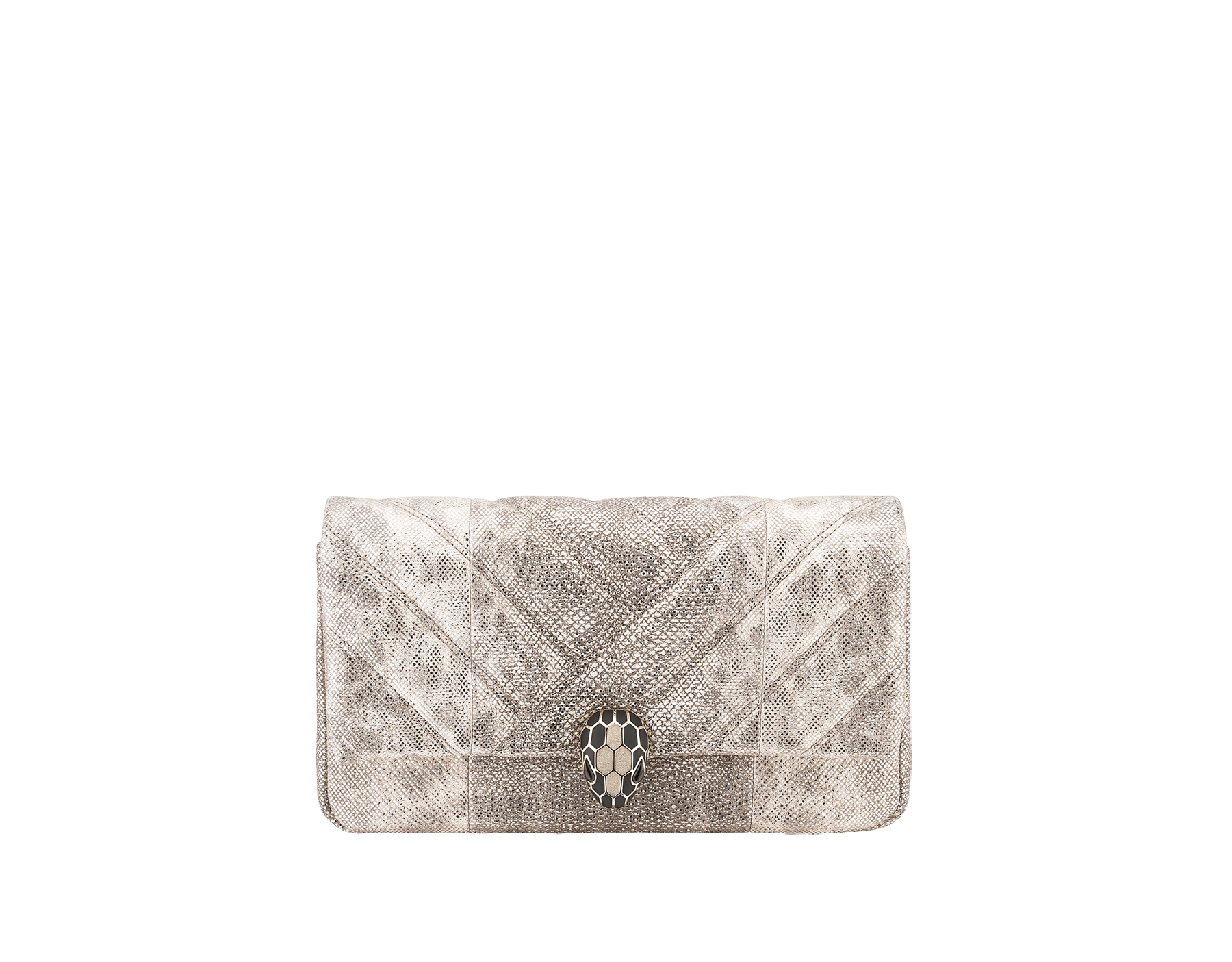 Clutch Serpenti Cabochon in karung metallizzato bianco opale con motivo geometrico matelassé. Accattivante chiusura Serpenti in ottone placcato oro chiaro, smalto nero e glitter bianco opale con occhi in onice nera. 1025-MK image 1