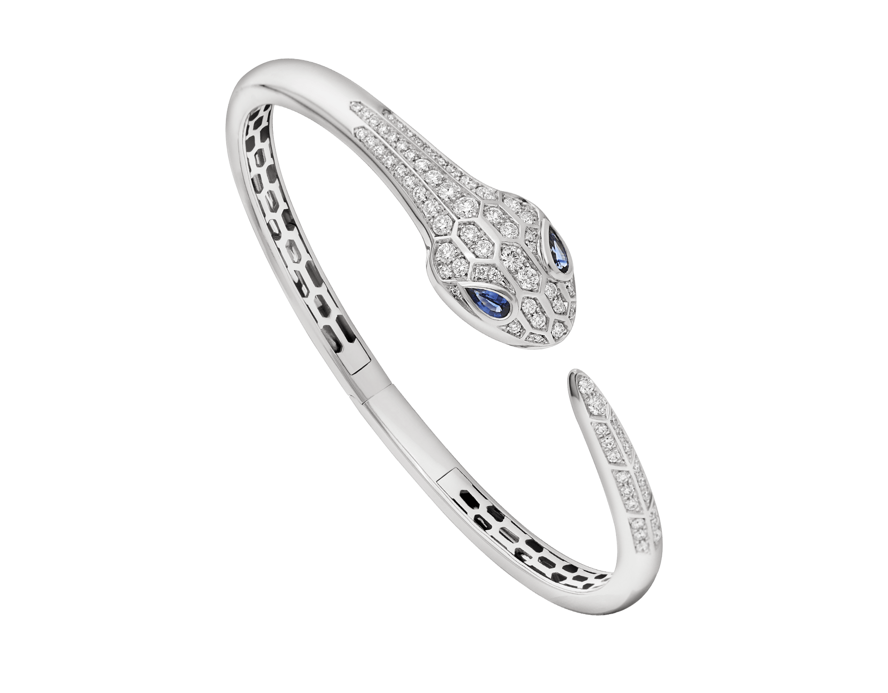 Serpenti bangle bracelet in 18 kt white gold, set with blue sapphire eyes and pavé diamonds. BR858110 image 1
