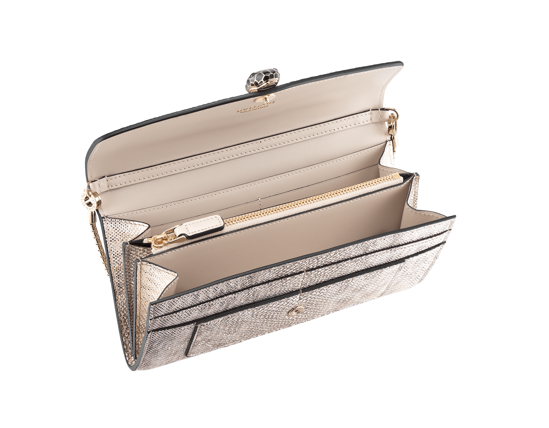 Wallet pouch in silver metallic karung skin and black calf leather, with black nappa lining. Brass light gold plated Serpenti head stud closure in black and white enamel, with black onyx eyes. SEA-WLT-CHAIN-16CC-MK image 2