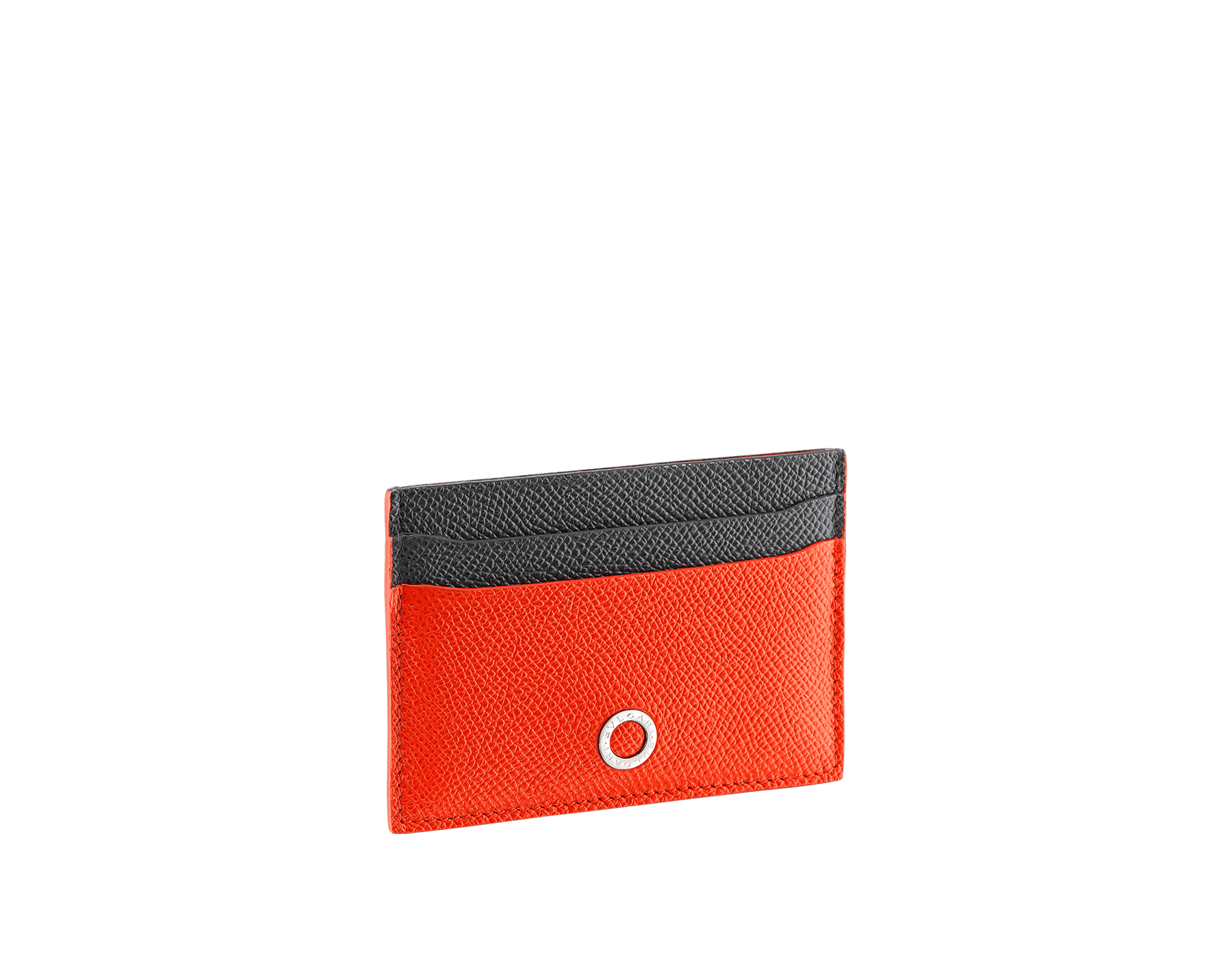 BVLGARI BVLGARI credit card holder in fire amber and charcoal diamond grain calf leather and fire amber nappa lining. Iconic logo decoration in palladium-plated brass. 289119 image 1