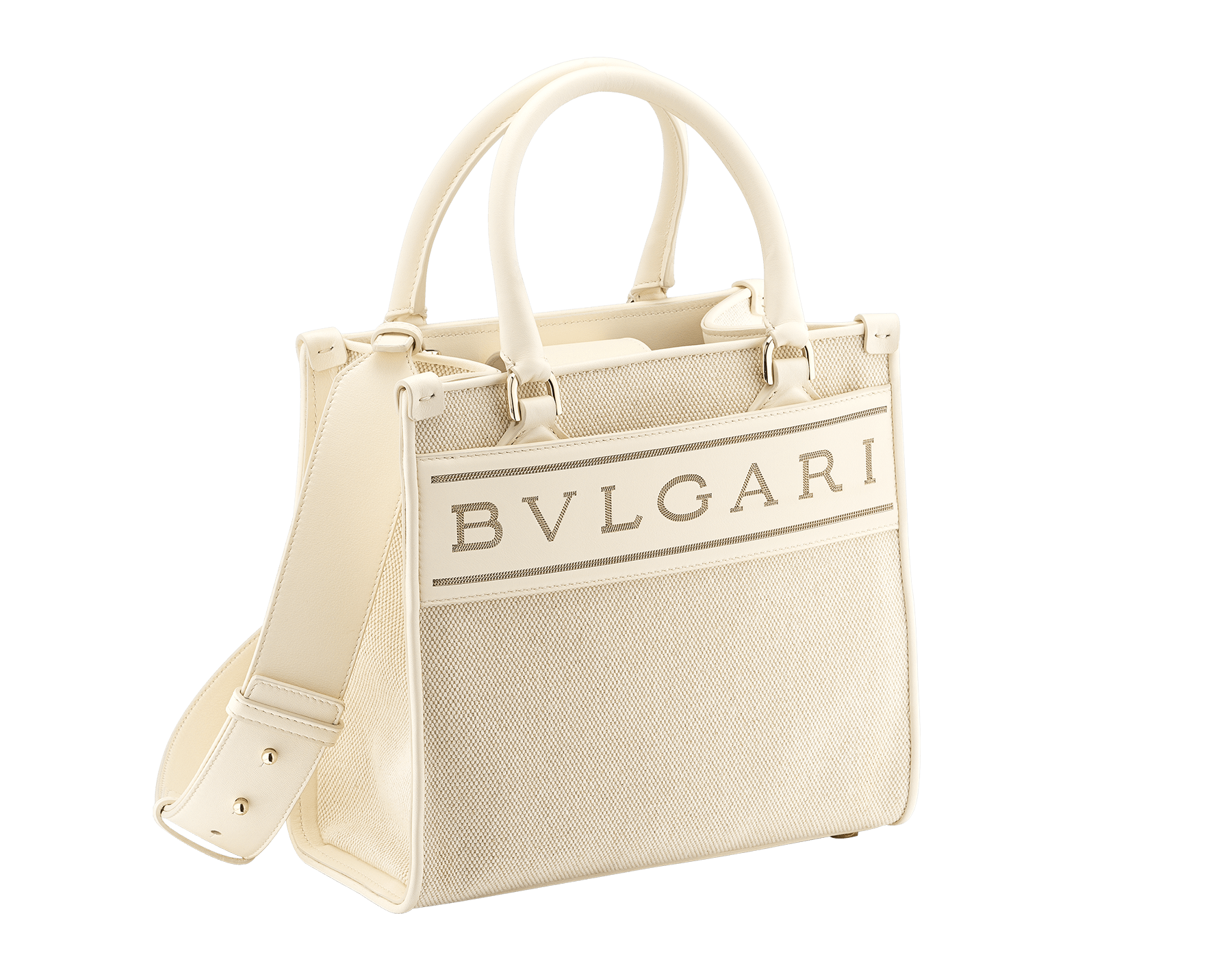 """""""Bvlgari Logo"""" small tote bag in Ivory Opal white canvas, with Beet Amethyst purple grosgrain inner lining. Bvlgari logo featured with light gold-plated brass chain inserts on the Ivory Opal white calf leather. BVL-1159-CC image 2"""