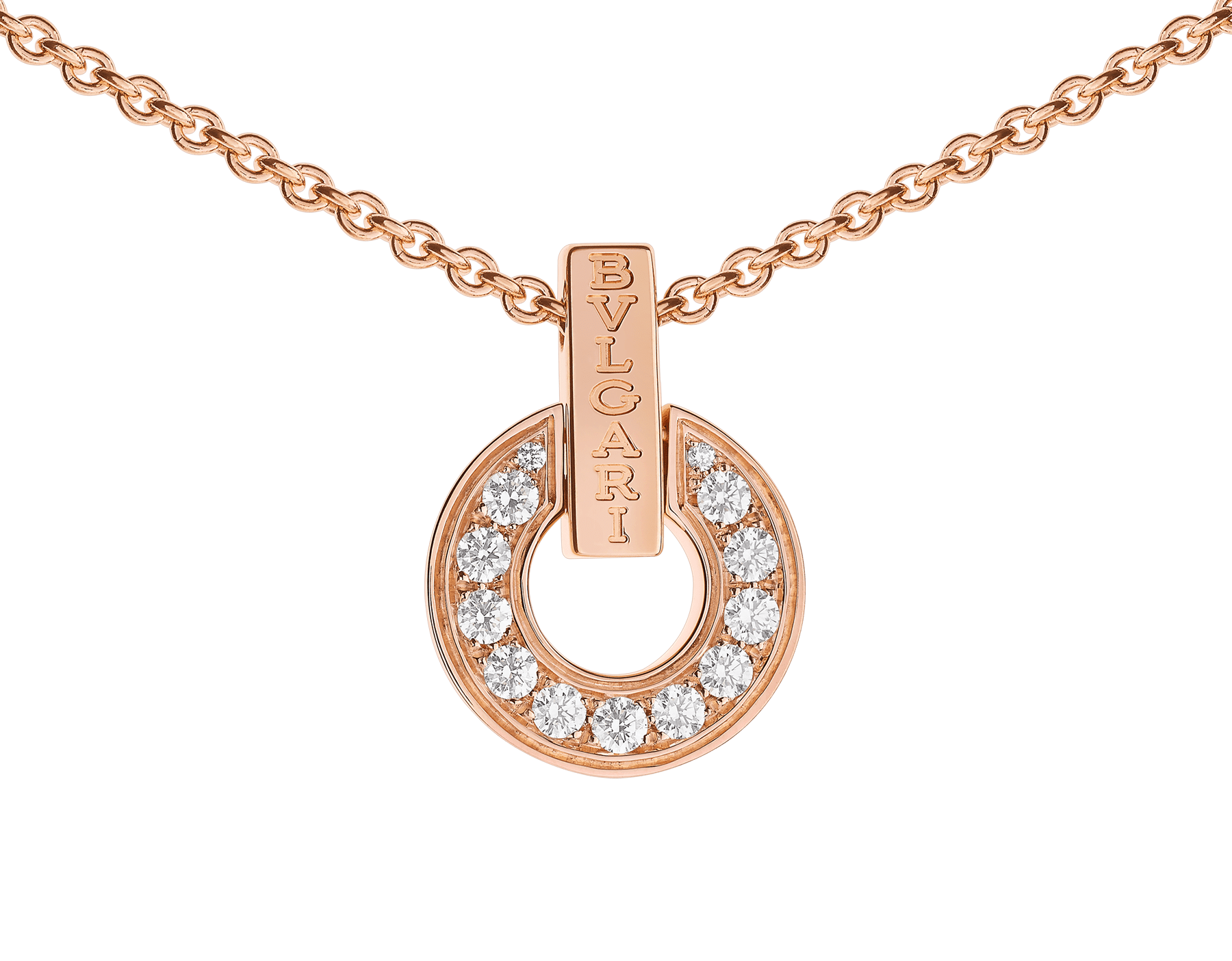 BVLGARI BVLGARI openwork 18 kt rose gold necklace set with full pavé diamonds on the pendant 357312 image 3