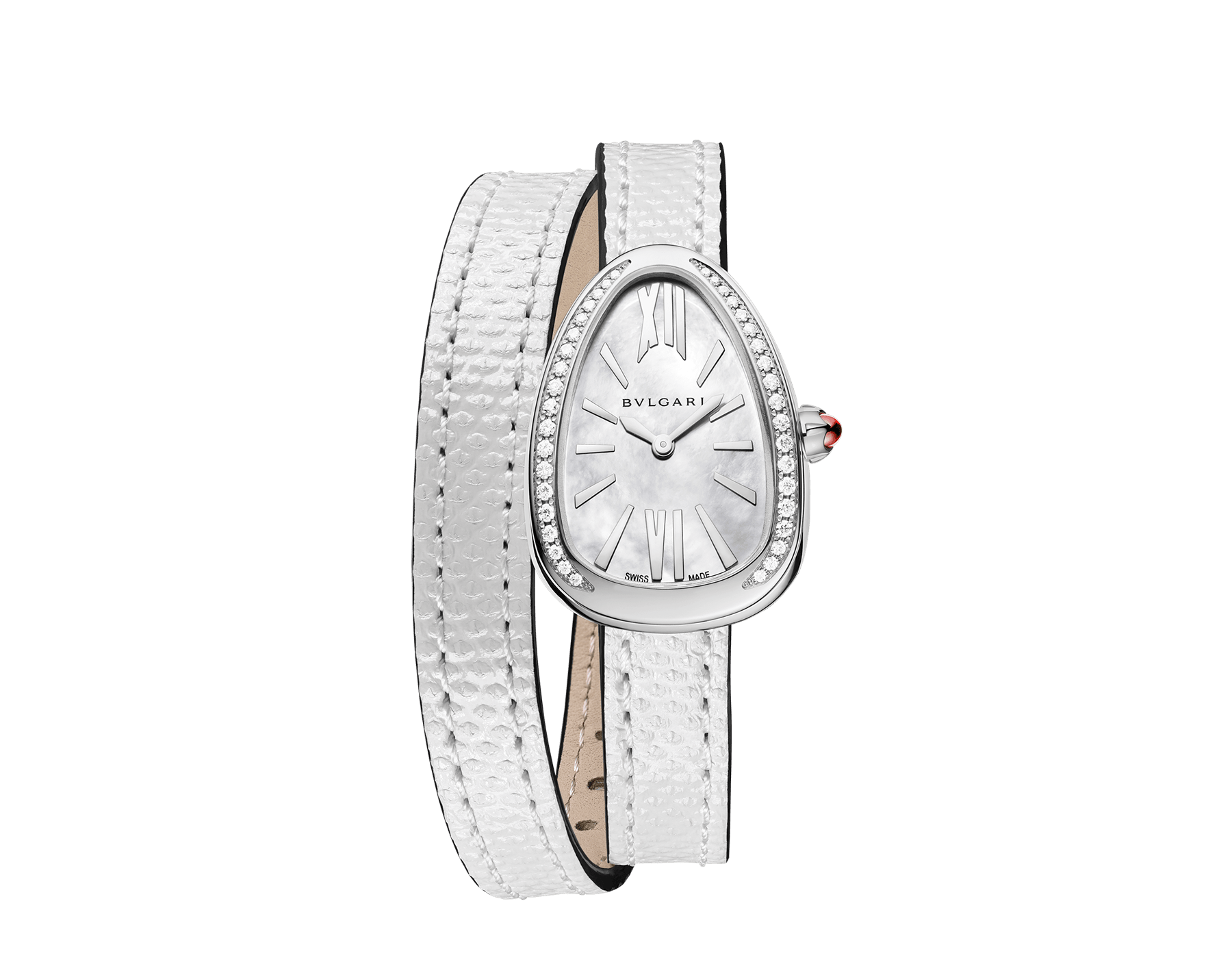 Serpenti watch with stainless steel case set with diamonds, white mother-of-pearl dial and interchangeable double spiral bracelet in white karung leather. 102781 image 1