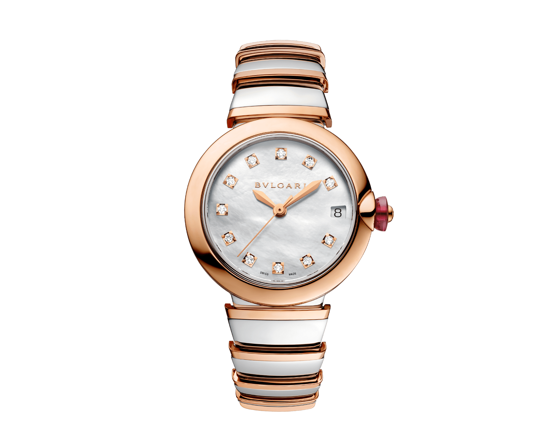 LVCEA watch with stainless steel case, 18 kt rose gold bezel, white mother-of-pearl dial, diamond indexes, stainless steel and 18 kt rose gold bracelet. 102198 image 1