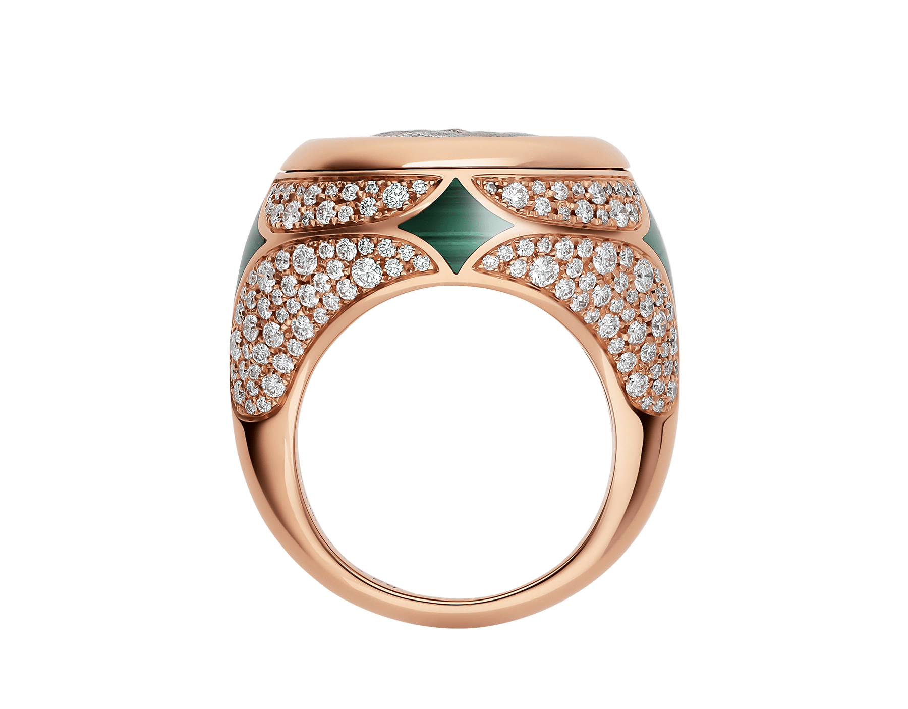 Monete 18 kt rose gold ring set with an ancient coin, malachite elements and pavé diamonds AN858468 image 2