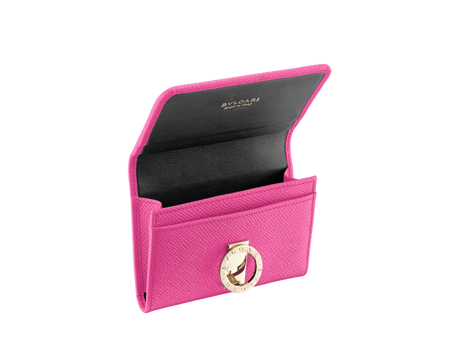 BVLGARI BVLGARI business card holder in flash amethyst grain calf leather and black nappa leather. Iconic logo closure clip in light gold plated brass. 289038 image 2