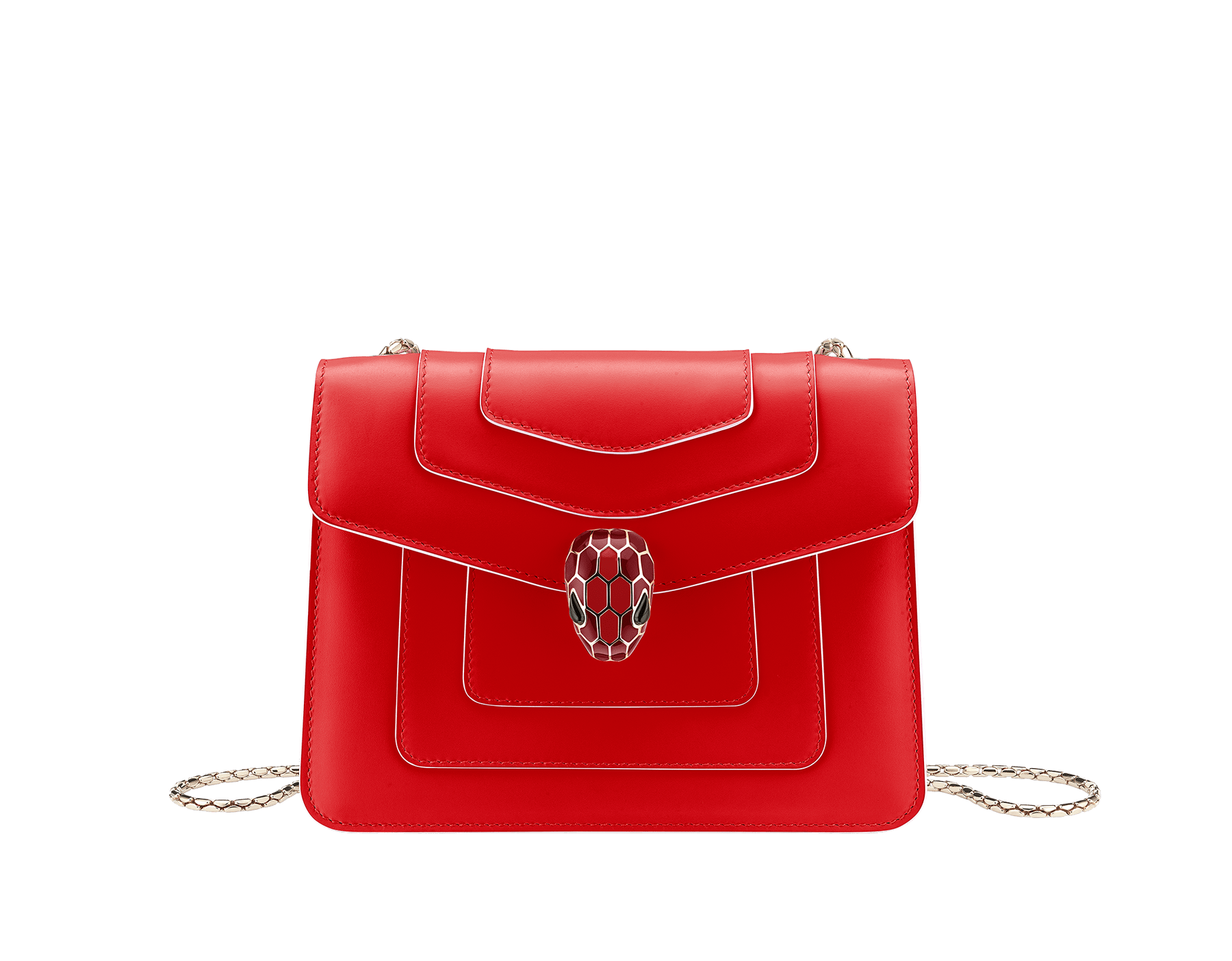 """Serpenti Forever"" crossbody bag in white agate calf leather body and ruby red calf leather sides. Iconic snakehead closure in light gold plated brass enriched with ruby red and white agate enamel and black onyx eyes. 422-BCLa image 1"
