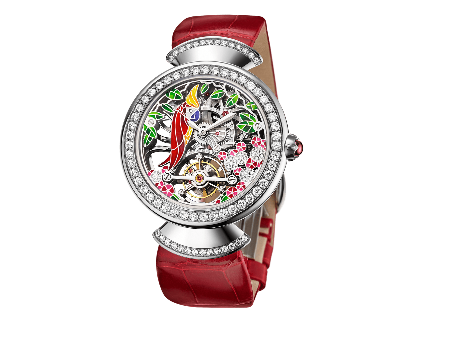 DIVAS' DREAM watch with 18kt white gold mechanical manufacture skeletonized movement and tourbillon. 18 kt white gold case set with brilliant-cut diamonds, dial with hand painted parrot, flowers and leaves set with diamonds and red alligator bracelet 102517 image 1