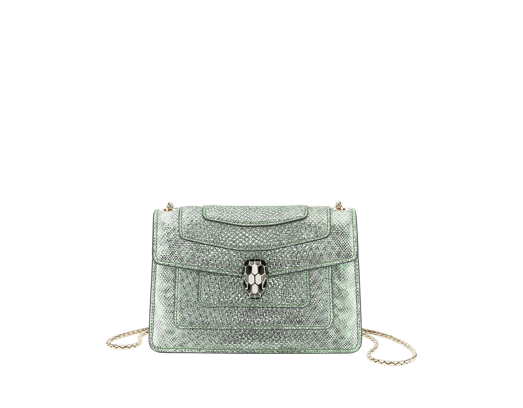 """Serpenti Forever"" crossbody micro bag in mint metallic karung skin. Brass light gold plated snakehead closure in black and white agate enamel, with black onyx eyes. 290005 image 1"