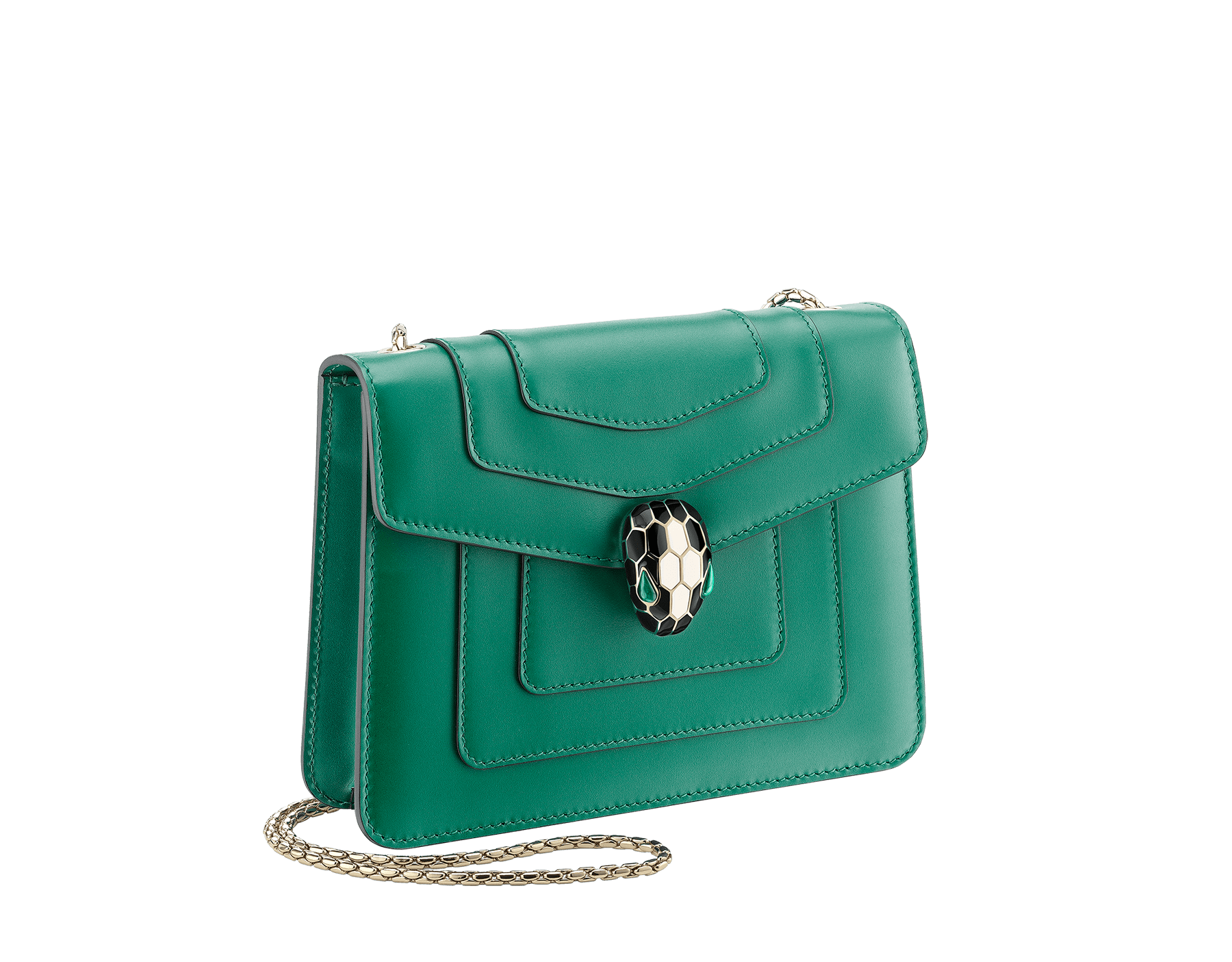 """Serpenti Forever"" crossbody bag in emerald-green calfskin with amethyst-purple grosgrain inner lining. Iconic snakehead closure in light gold-plated brass embellished with black and agate-white enamel and green malachite eyes. 422-CLa image 2"